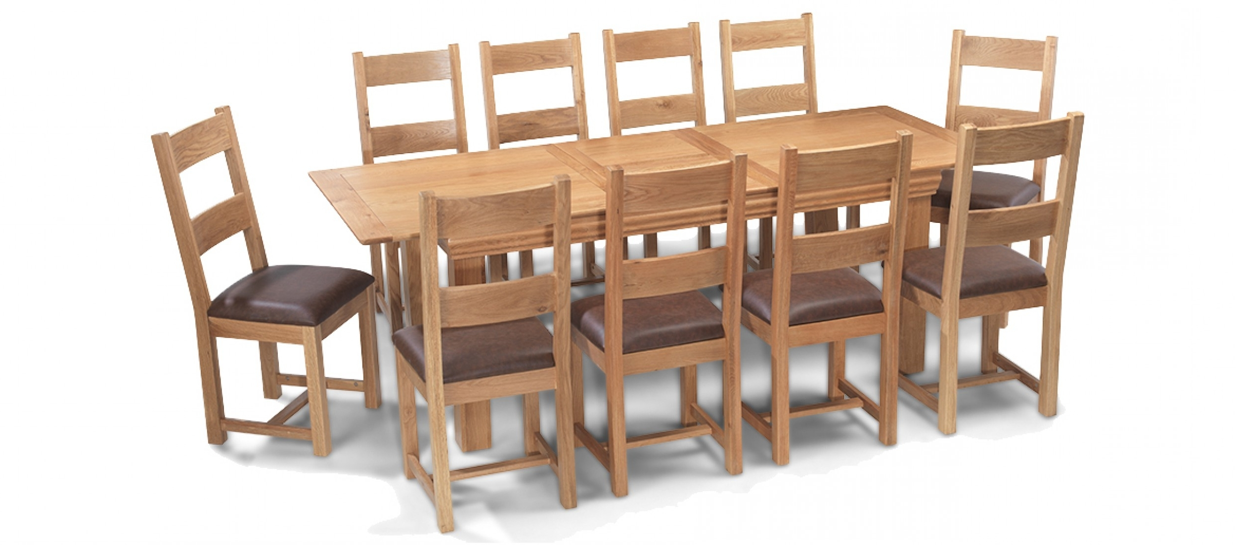 Constance Oak 180 230 Cm Extending Dining Table And 10 Chairs For Well Known Extending Dining Tables Set (View 4 of 25)