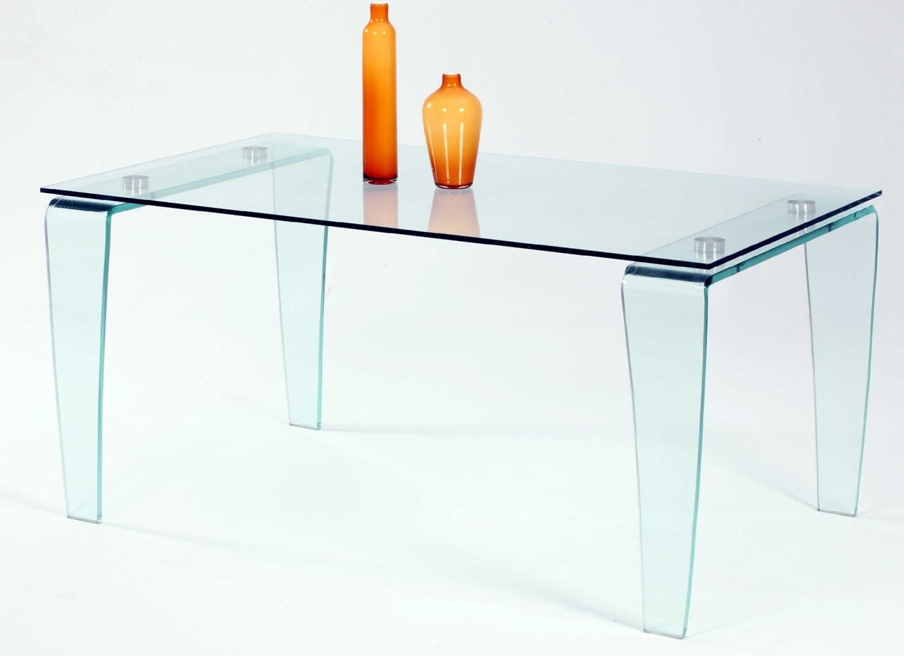 Contemporary All Glass Dining Table With Clear Top And Bent Legs For Most Recently Released Curved Glass Dining Tables (View 3 of 25)