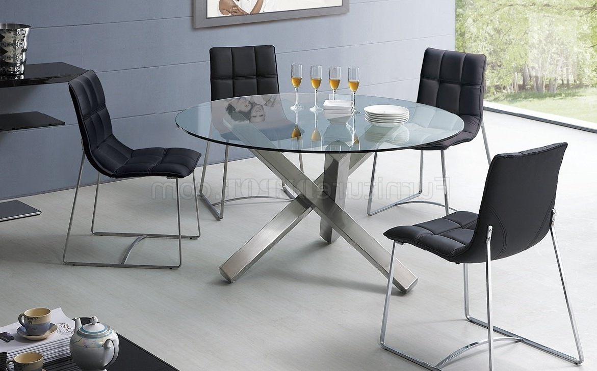 Contemporary Base Dining Tables Inside Most Recent Clear Glass Round Top Modern Dining Table W/metal Base & Options (View 4 of 25)