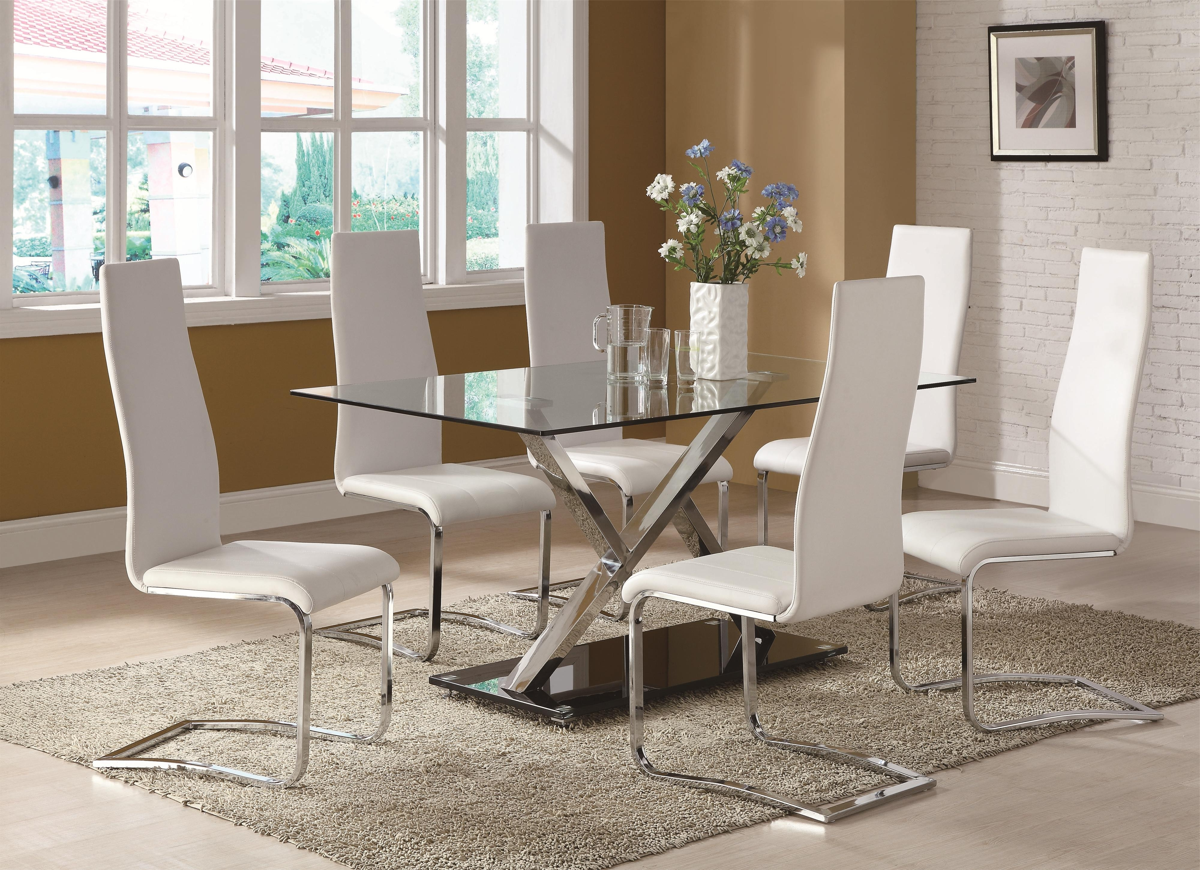 Contemporary Base Dining Tables With Preferred Coaster Modern Dining White Dining Table With Chrome Metal Base (View 10 of 25)