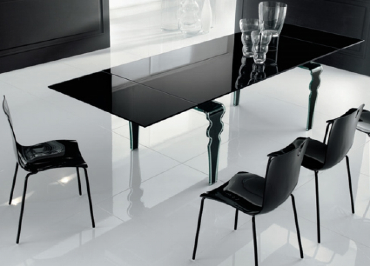 Contemporary Black Glass Dining Table Feature Rectangular Shaped And For Current Dining Tables Black Glass (View 9 of 25)