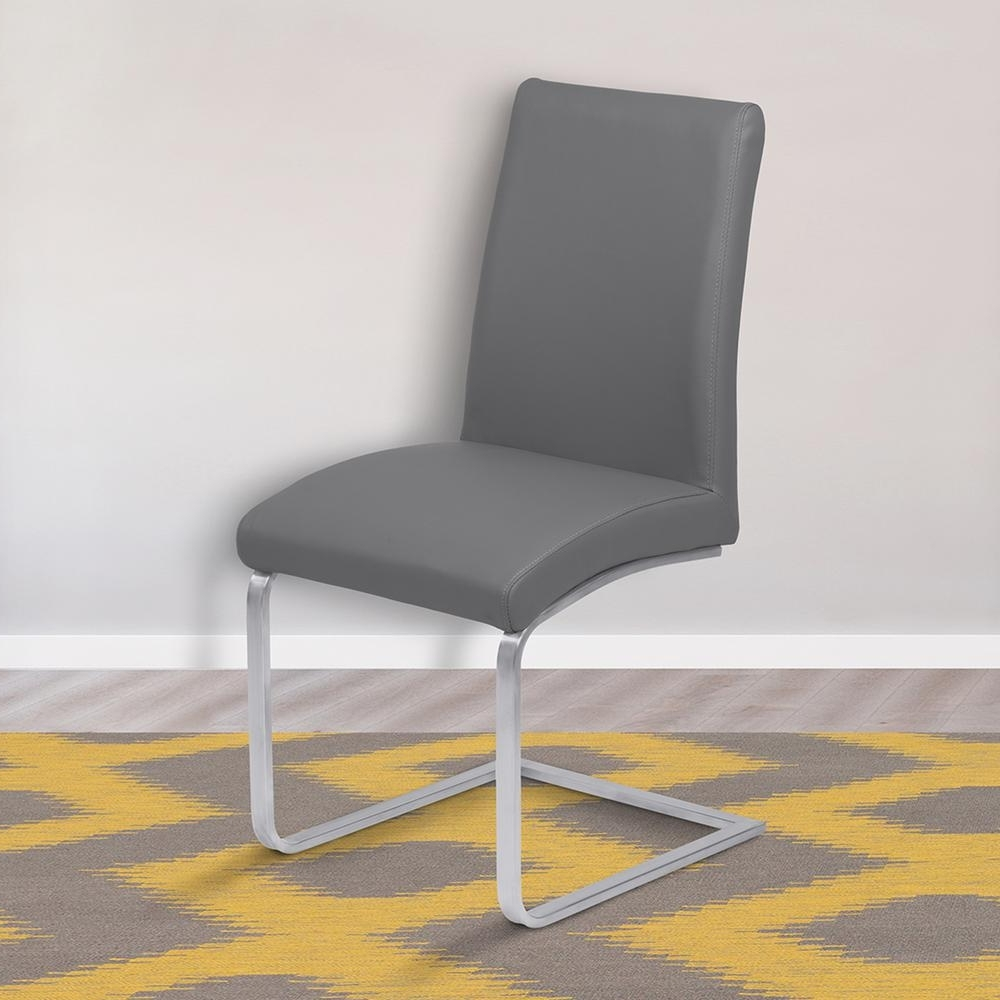 Contemporary Dining Furniture With Most Recently Released Armen Living Blanca 39 In. Gray Faux Leather And Brushed Stainless (Gallery 22 of 25)
