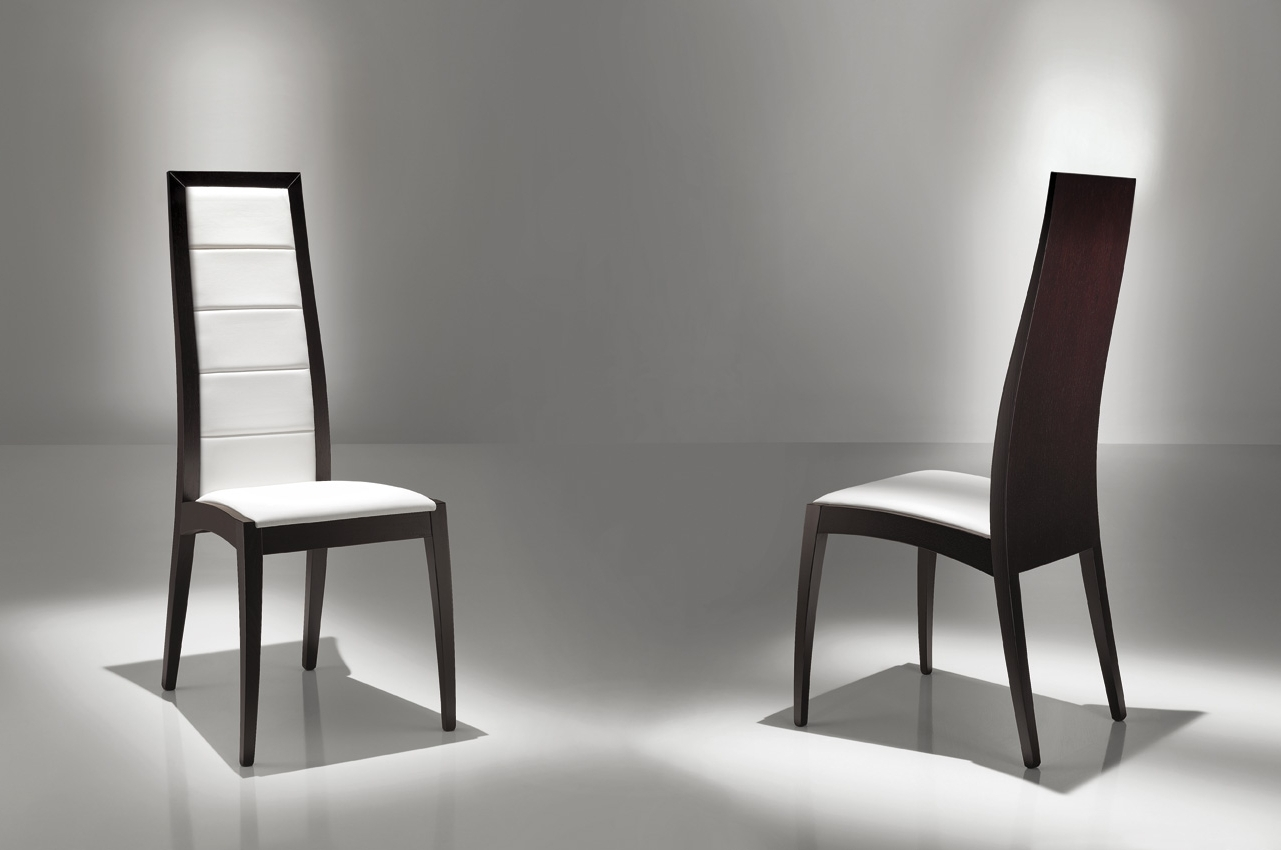 Contemporary Dining Room Chairs Regarding Recent Two Tone Modern Dining Chairs Using White Vinyl Seat And Black Frame (View 8 of 25)