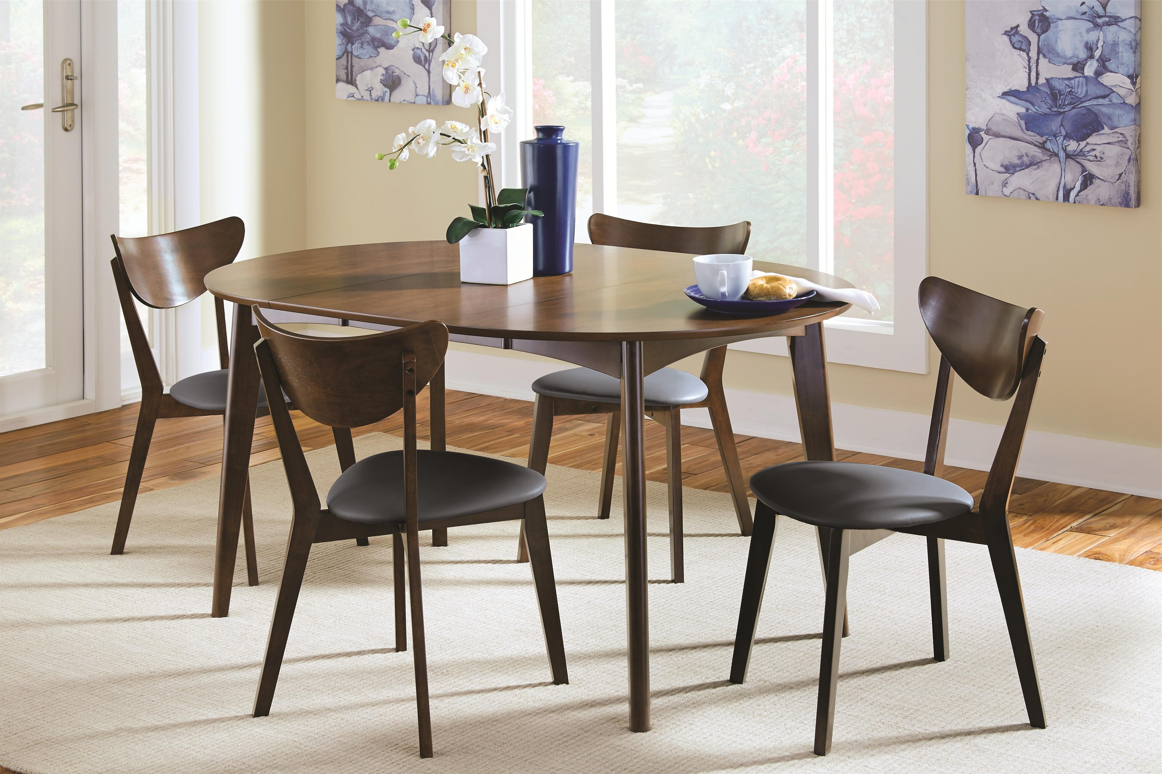 Contemporary Dining Room Tables And Chairs Regarding 2017 Coaster Malone Mid Century Modern 5 Piece Solid Wood Dining Set (Gallery 3 of 25)