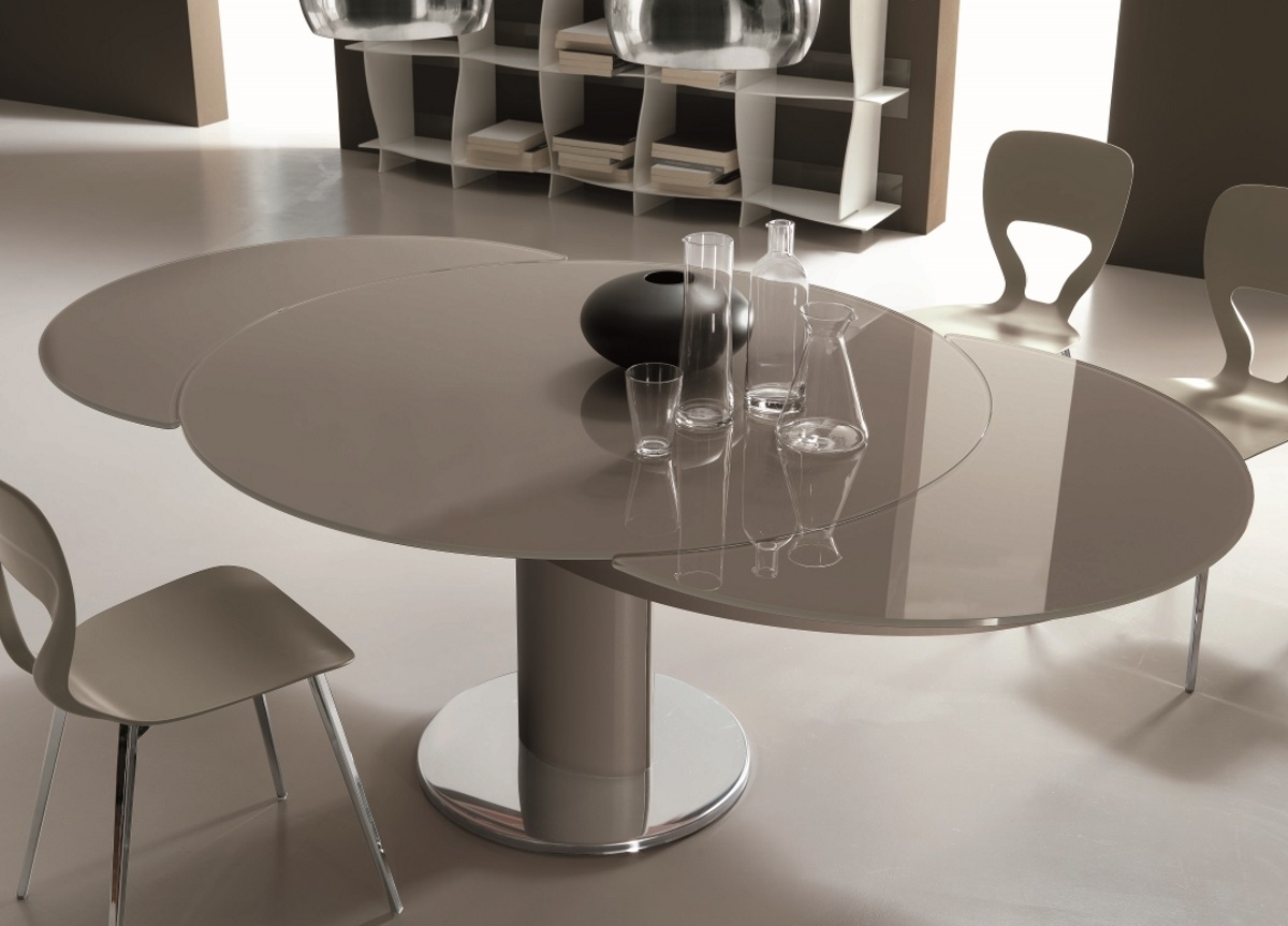 Contemporary Extending Dining Tables Throughout Favorite Bontempi Giro Round Extending Dining Table (View 8 of 25)