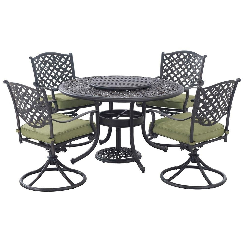 Cora 7 Piece Dining Sets Inside Latest Sunjoy Vining 7 Piece Patio Dining Set With Green Cushions  (View 9 of 25)