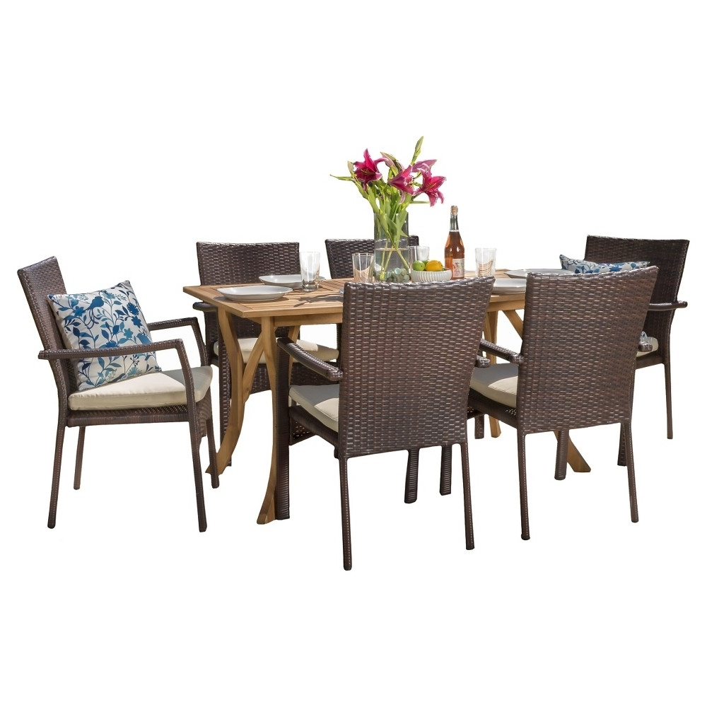 Corleone 7Pc Dining Set (Wood Table With Wicker Chairs) – Teak Within Well Liked Candice Ii 7 Piece Extension Rectangle Dining Sets (View 24 of 25)