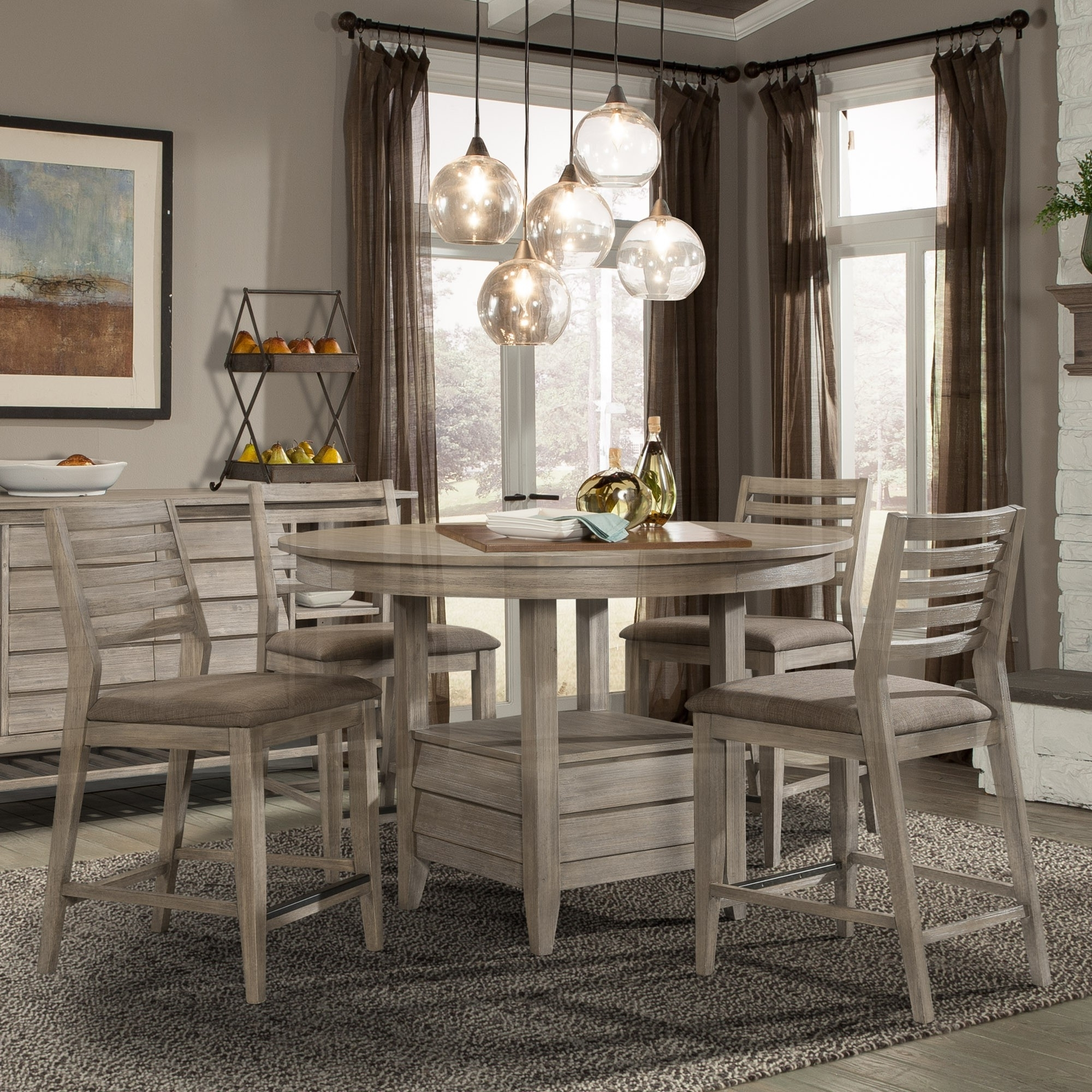Corliss Landing Wood Counter Height Table In Weathered Driftwood Inside Preferred Dining Tables With Attached Stools (View 4 of 25)