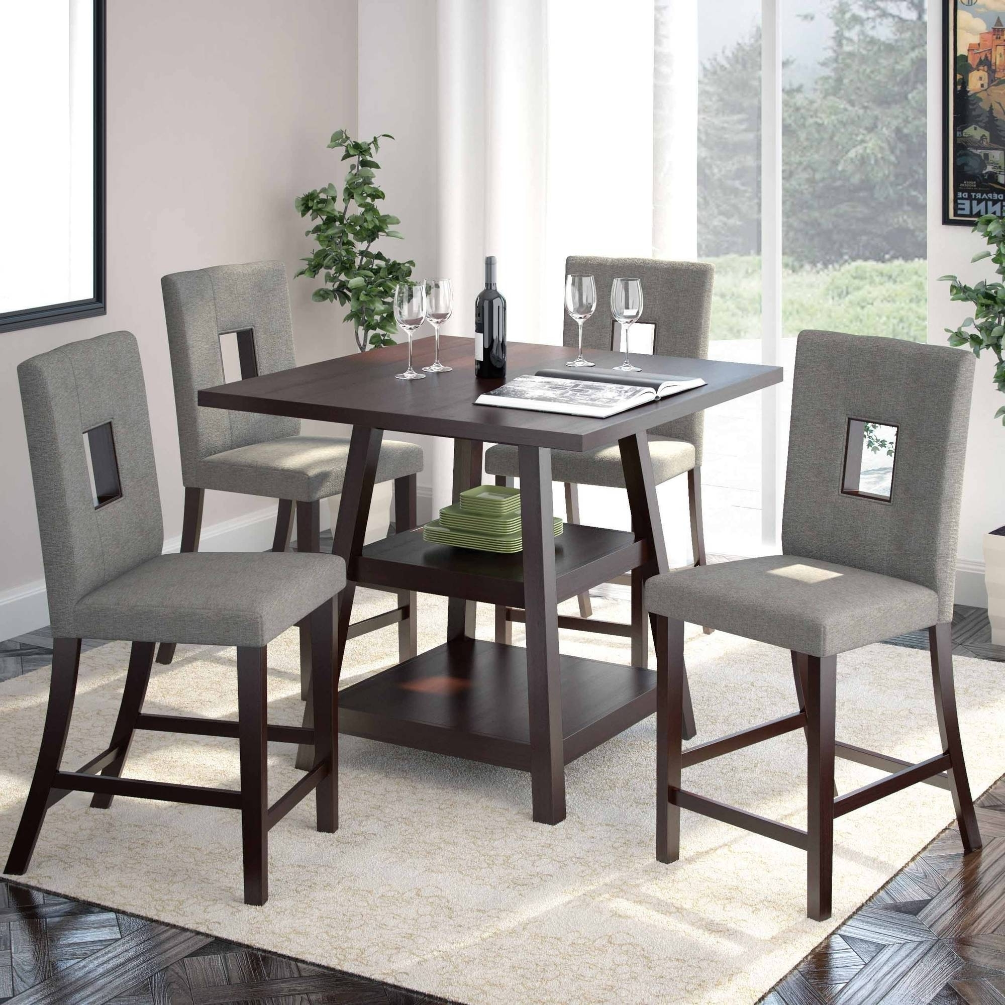 "Corliving Bistro 5Pc 36"" Counter Height Rich Cappuccino Dining Set Intended For Most Recently Released Market 5 Piece Counter Sets (Gallery 2 of 25)"
