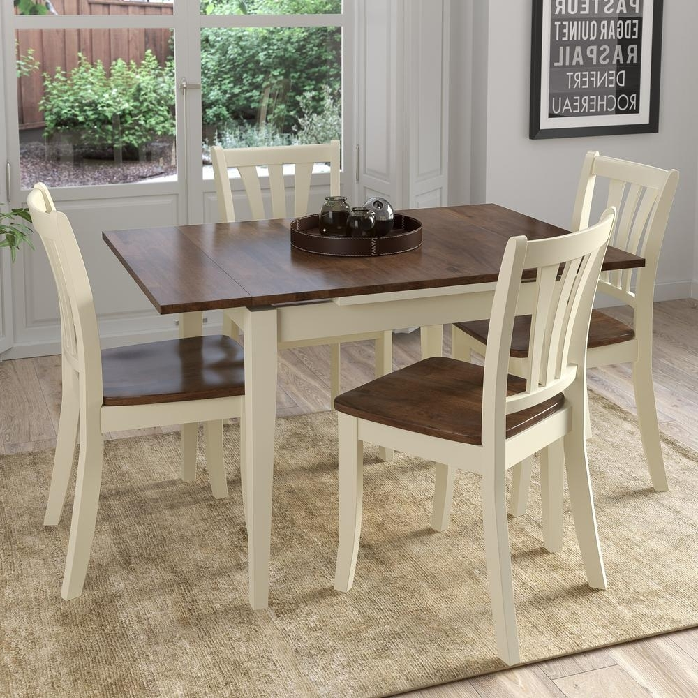 Corliving Dillon 5 Piece Extendable Dark Brown And Cream Solid Wood Within Most Up To Date Cream And Wood Dining Tables (View 7 of 25)