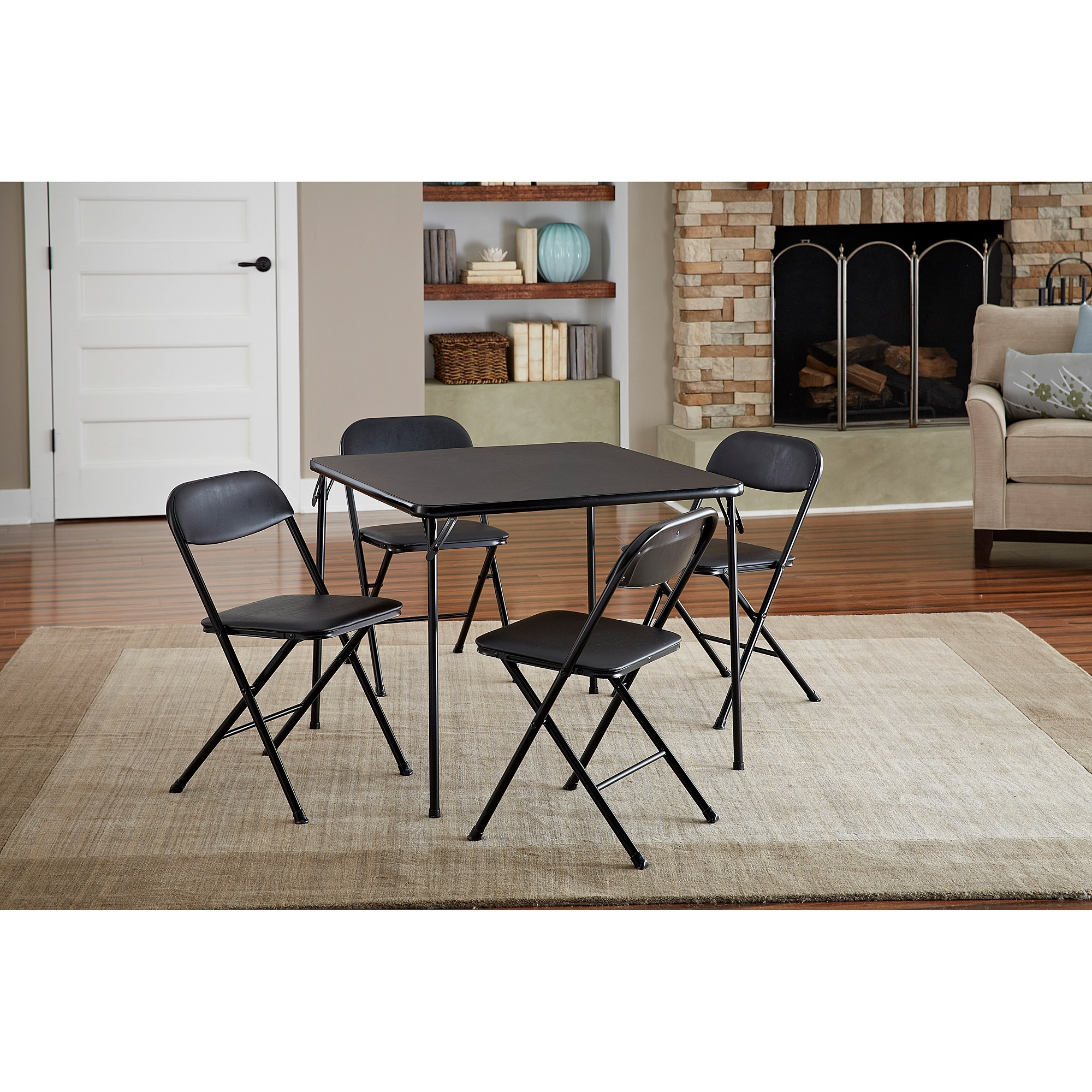 Cosco 5 Piece Card Table Set, Black – Walmart Within Most Recent Dining Tables With Fold Away Chairs (View 21 of 25)