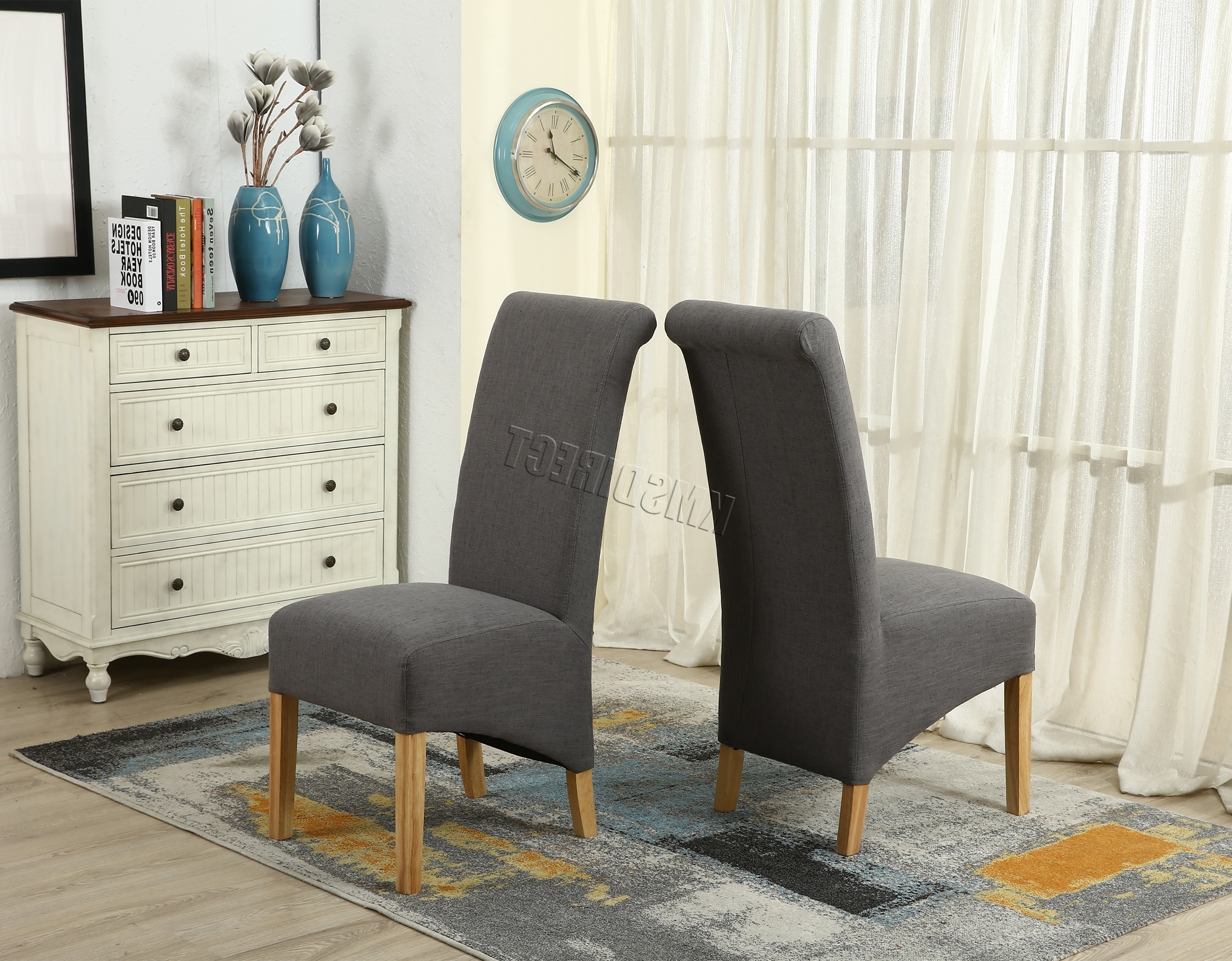 Cosmetic Damage Grey Fabric Dining Chairs Scroll High Back Springed With 2018 High Back Dining Chairs (View 13 of 25)