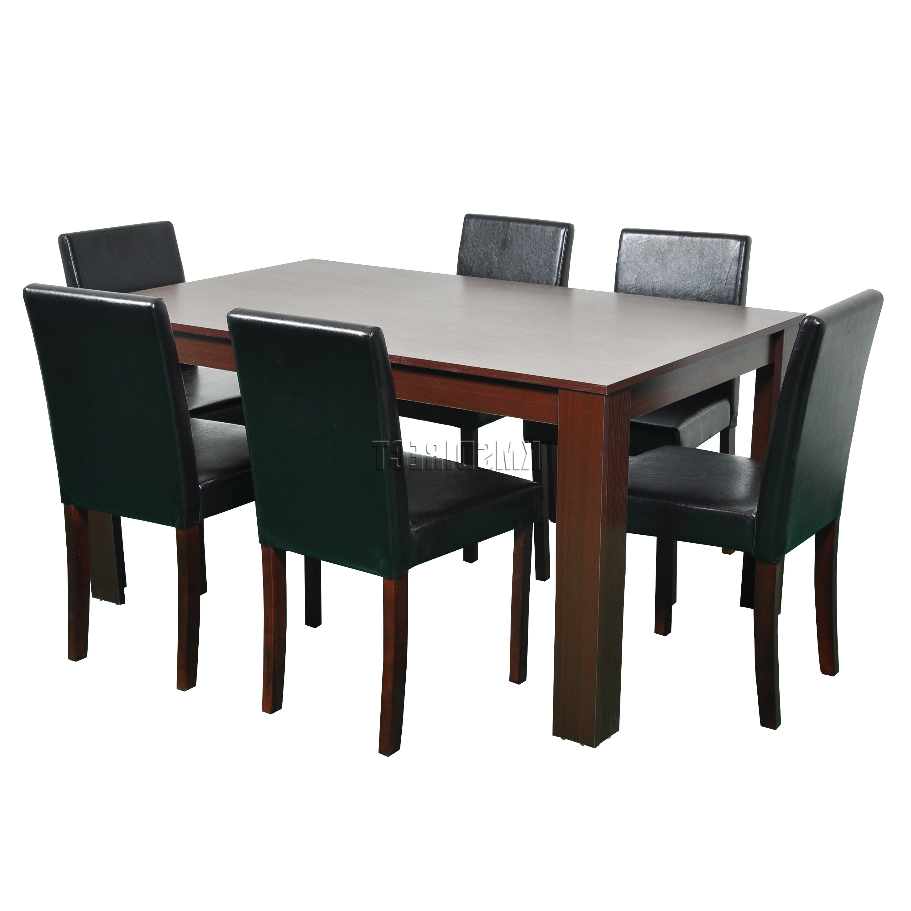 Cosmetic Damaged Wooden Dining Table 6 Faux Leather Chairs Set Throughout Current Walnut Dining Tables And 6 Chairs (View 5 of 25)