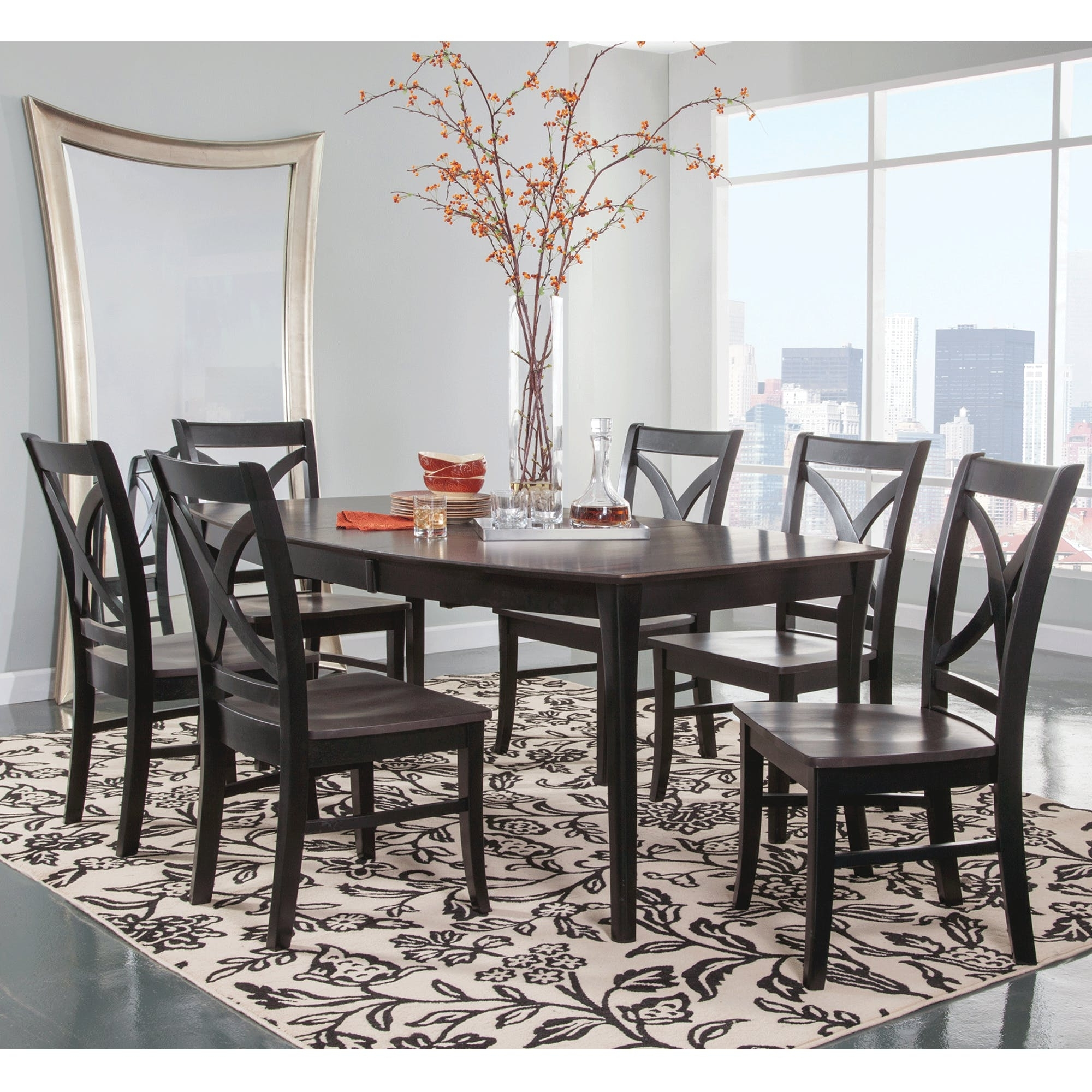 Cosmopolitan Coal/black Dining Room 7 Piece Set – Butterfly Leaf Leg Regarding Widely Used Craftsman 7 Piece Rectangle Extension Dining Sets With Uph Side Chairs (View 2 of 25)