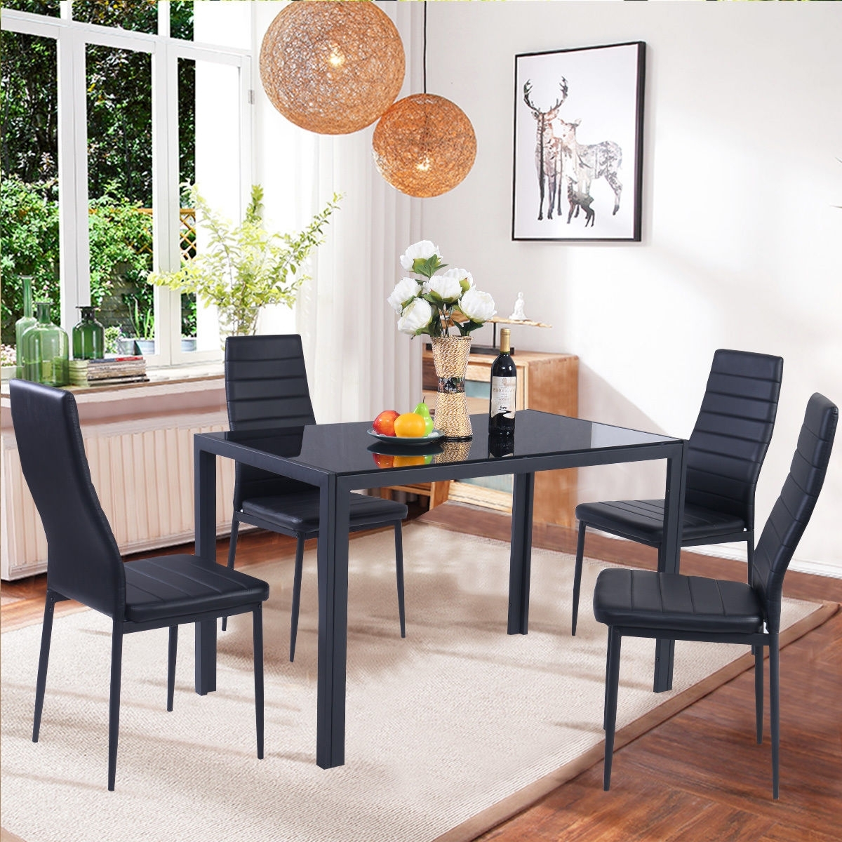 Costway 5 Piece Kitchen Dining Set Glass Metal Table And 4 Chairs In Well Known Black Glass Dining Tables (View 12 of 25)