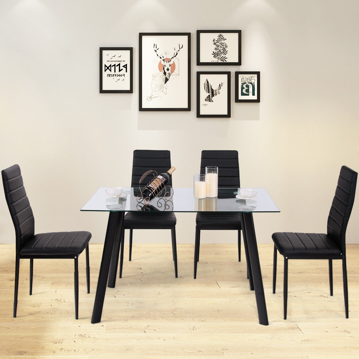 Costway: Costway Modern Glass Dining Table Set Tempered Glass Top In Trendy Glass Dining Tables And Leather Chairs (View 21 of 25)