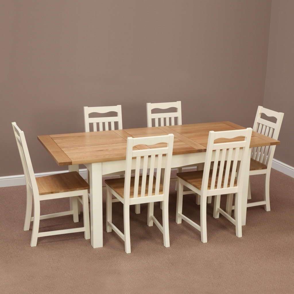 Cotswold Cream Painted Solid Oak Extending Dining Table + … (View 22 of 25)