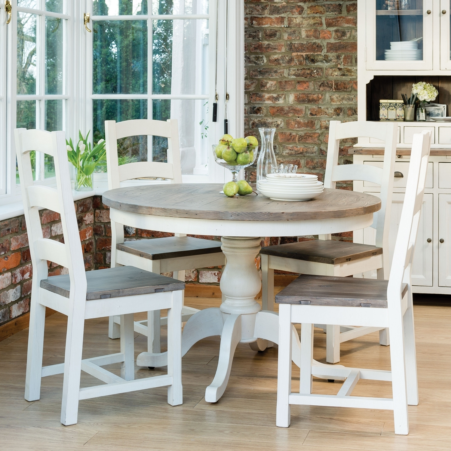 Cotswold Dining Tables In Well Liked Casa Cotswold Circular Table & 4 Wooden Chairs Dining Set (View 5 of 25)