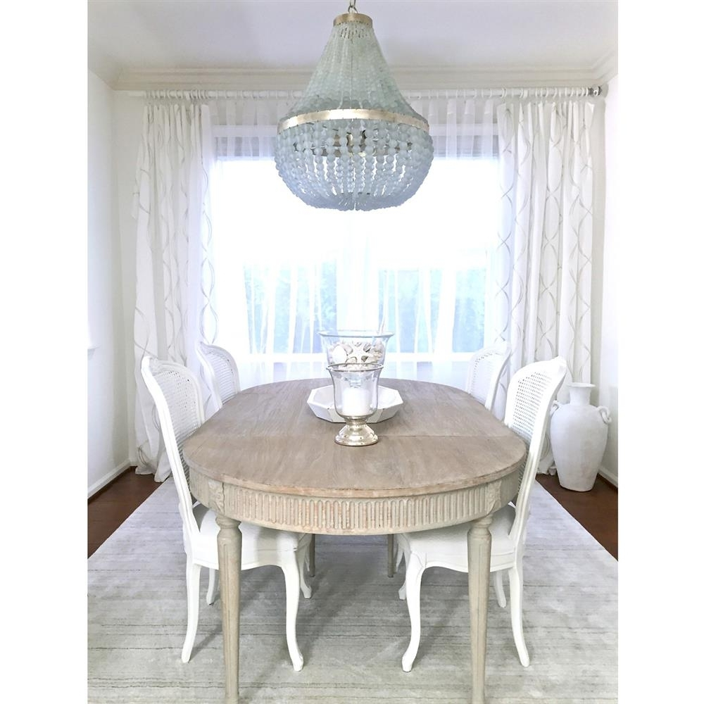 Country Dining Tables In Famous Floren French Country White Wash Oak Extendable Breakfast Oval (View 3 of 25)