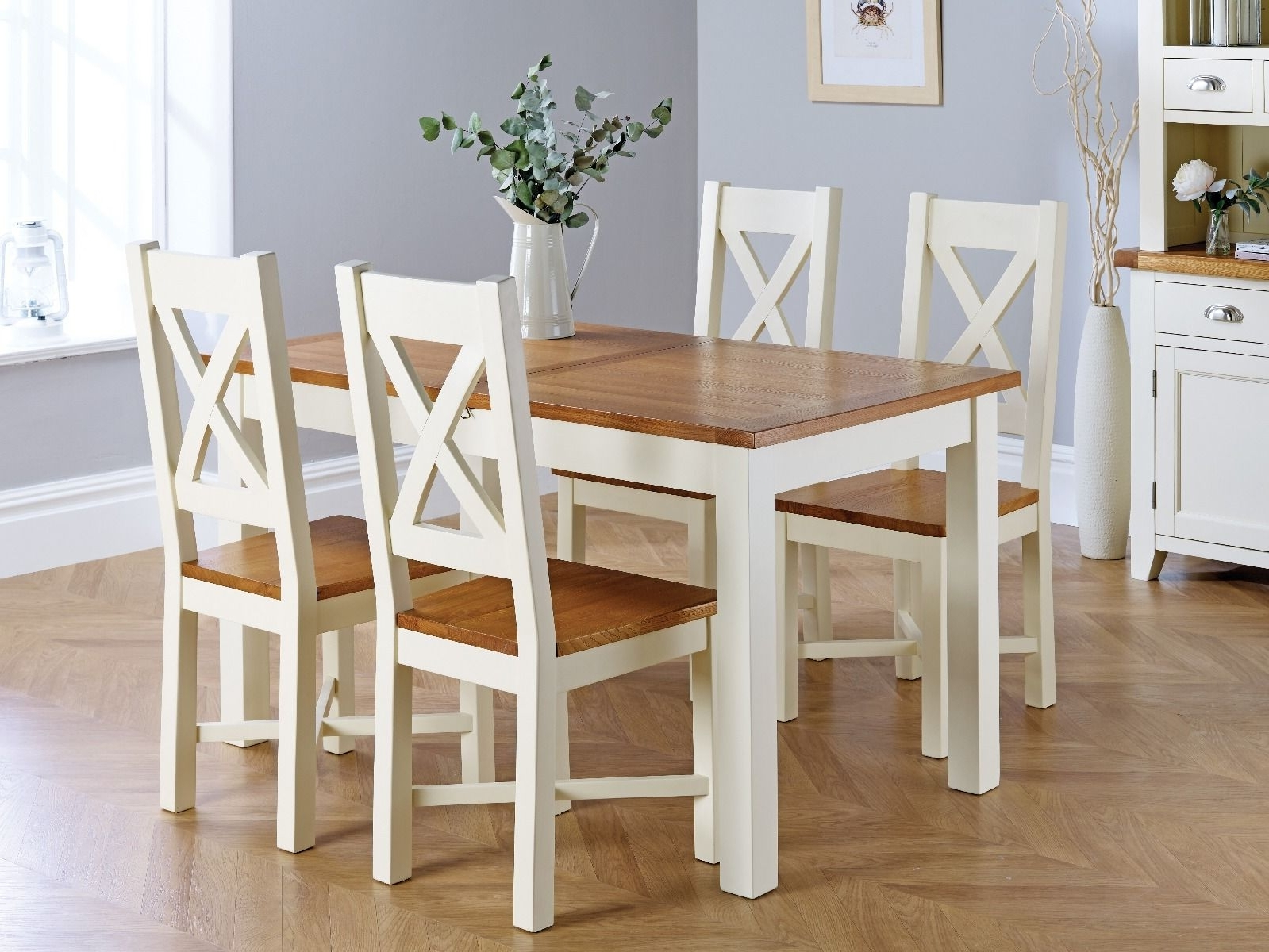 Country Oak 180Cm Cream Painted Extending Dining Table & 4 Grasmere With Well Known Cream And Wood Dining Tables (View 8 of 25)