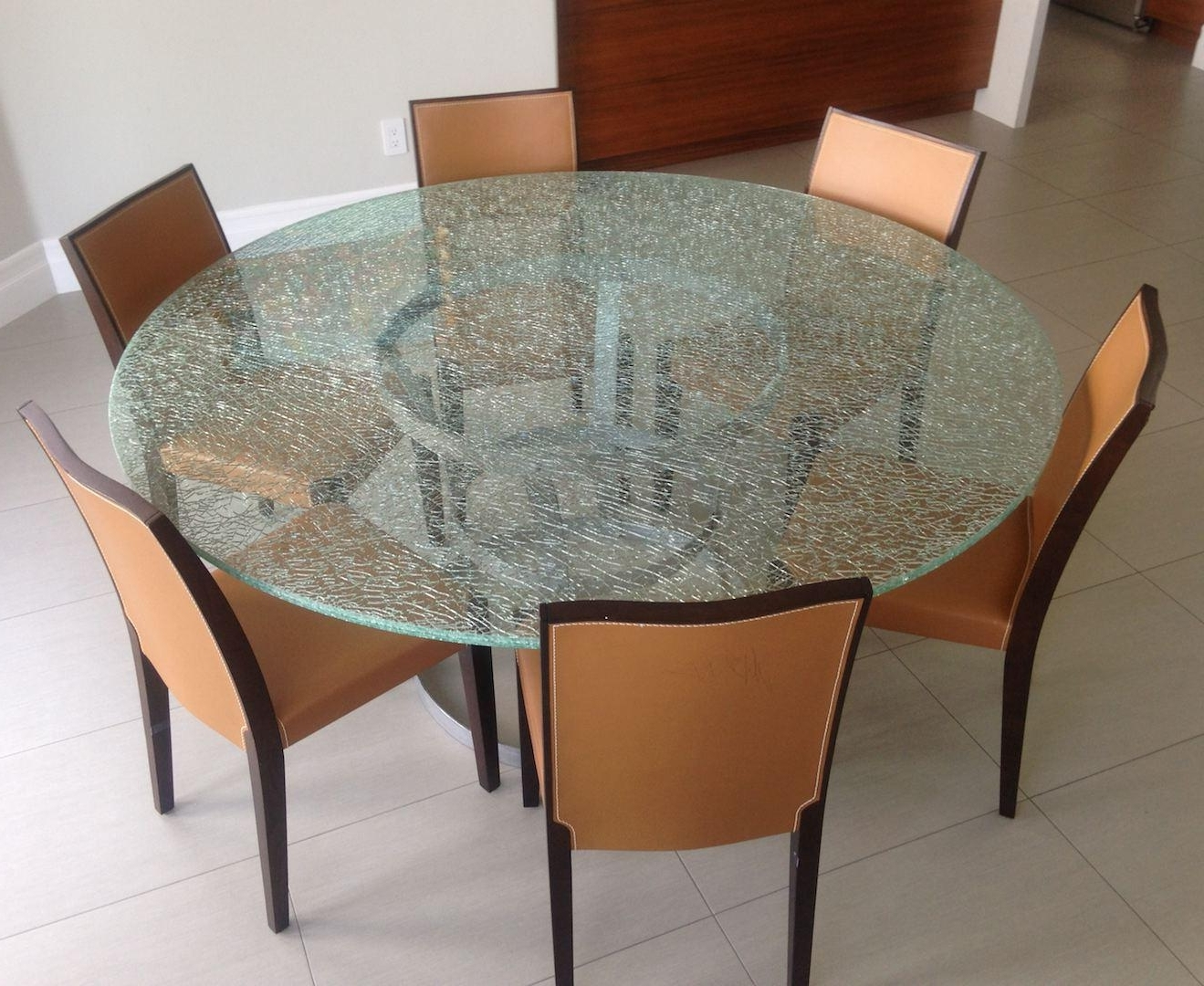 Crackle Glass Dining Table Top : House Photos – Crackle Glass Dining Within Popular Wood Glass Dining Tables (View 14 of 25)