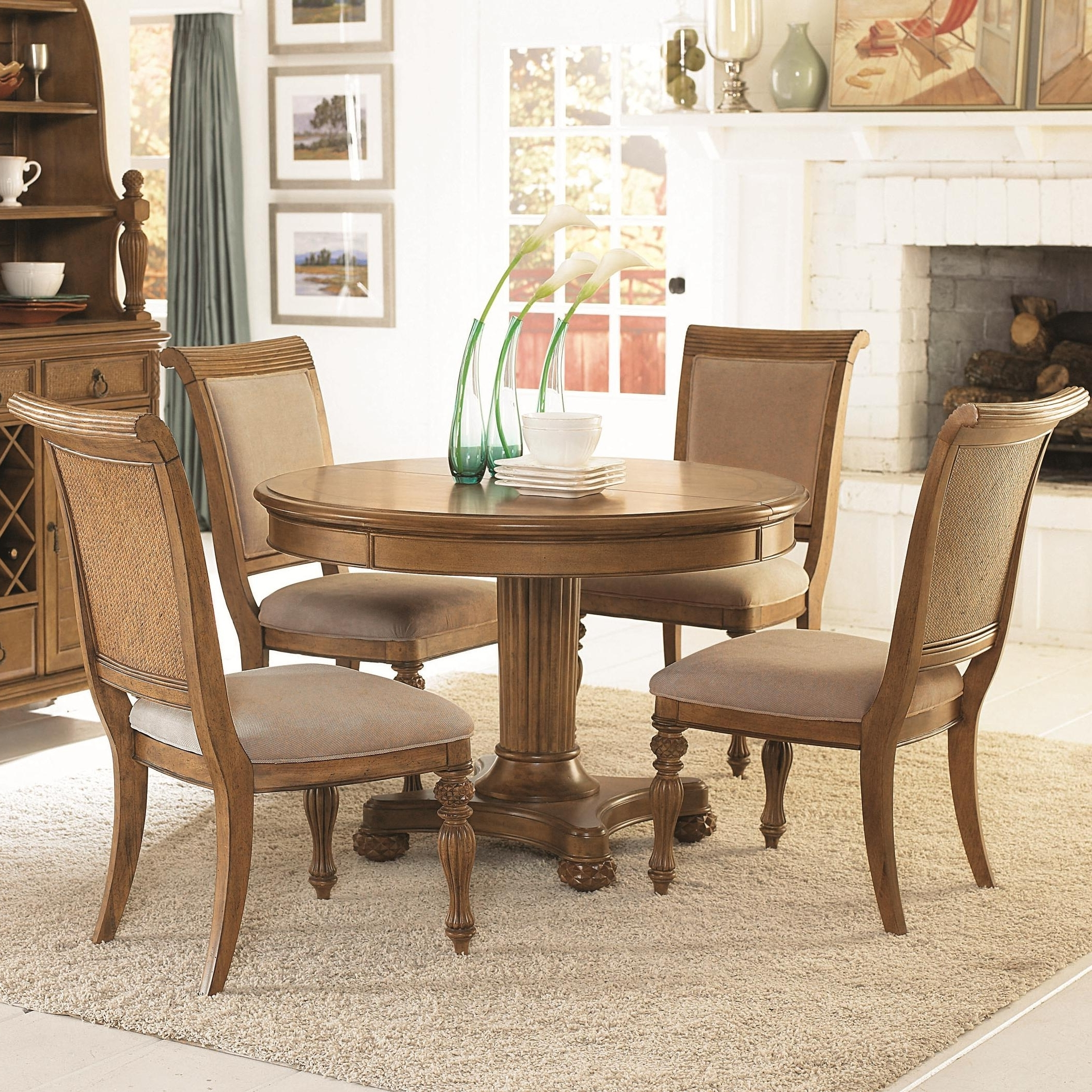 Craftsman 5 Piece Round Dining Sets With Side Chairs For Current 5 Piece Round Pedestal Dining Table Side Chairs With Upholstered (View 13 of 25)