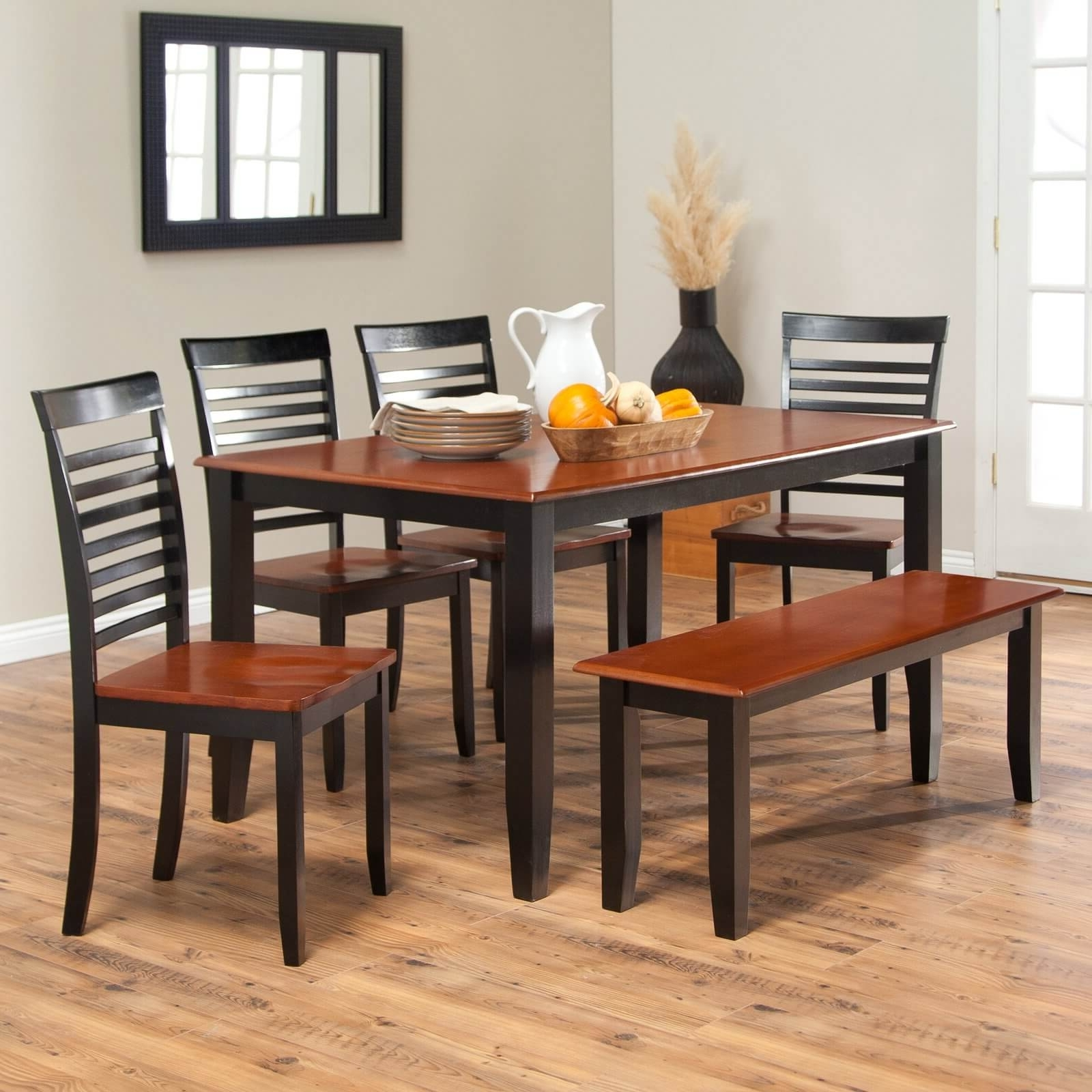 Craftsman 5 Piece Round Dining Sets With Uph Side Chairs Inside Favorite 26 Dining Room Sets (Big And Small) With Bench Seating (2018) (View 12 of 25)