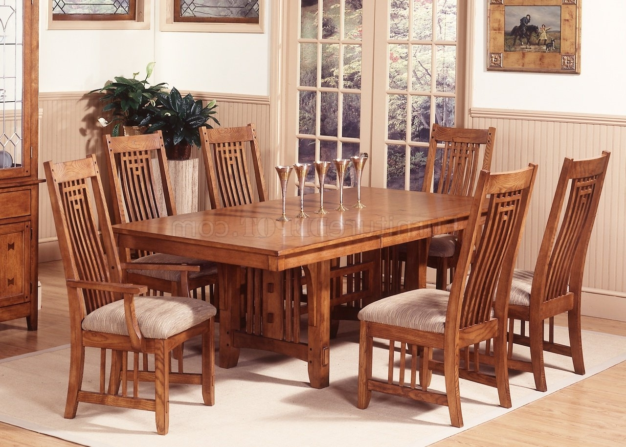 Craftsman 5 Piece Round Dining Sets With Uph Side Chairs Pertaining To Trendy Mission Oak Finish Casual Dining Room Table W/options (Gallery 21 of 25)