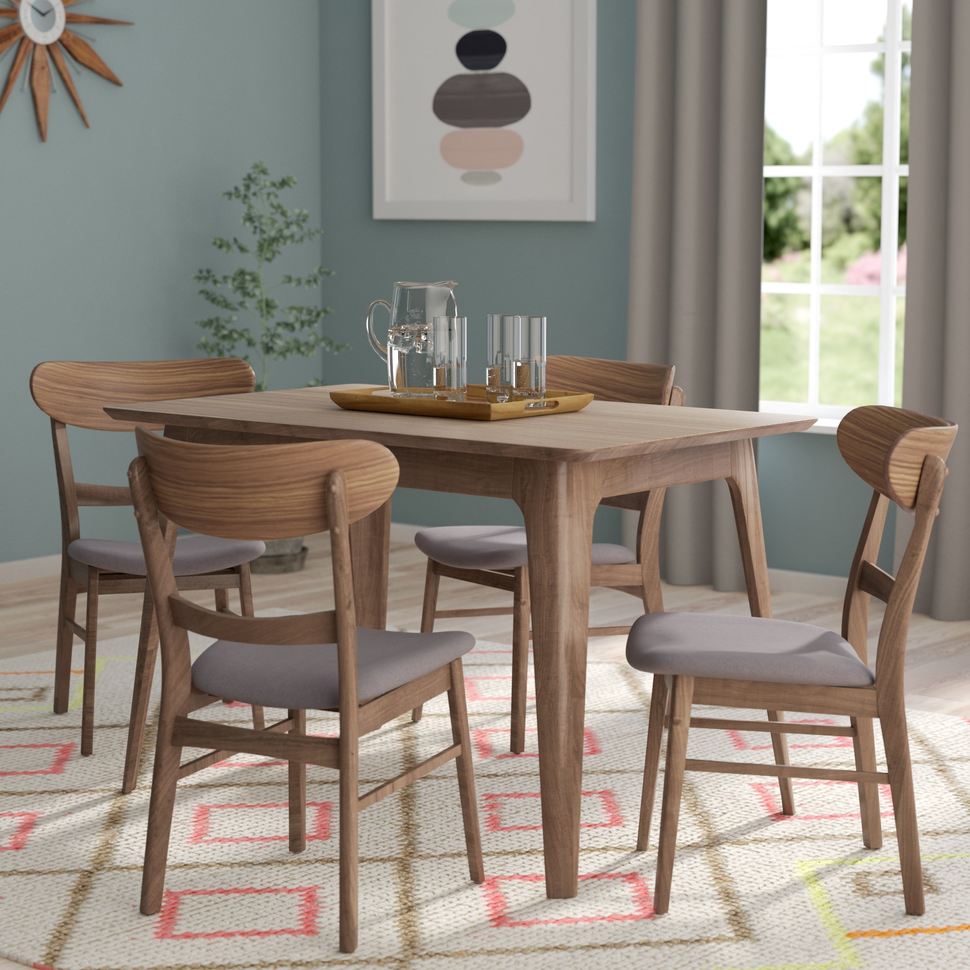Craftsman 5 Piece Round Dining Sets With Uph Side Chairs With Regard To Best And Newest Langley Street Yolanda 5 Piece Wood Dining Set & Reviews (View 2 of 25)