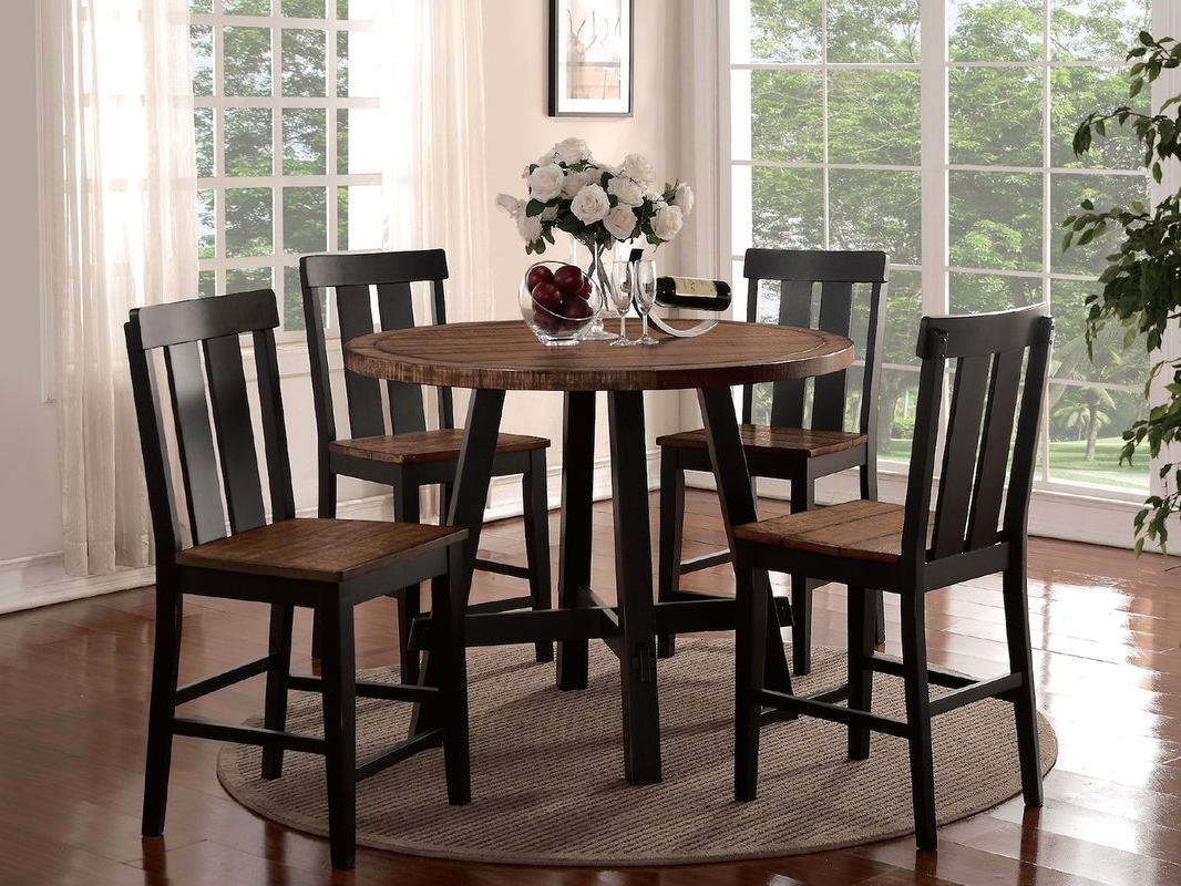 Craftsman 5 Piece Round Dining Sets With Uph Side Chairs With Widely Used Counter Height Dining Sets You'll Love (Gallery 22 of 25)