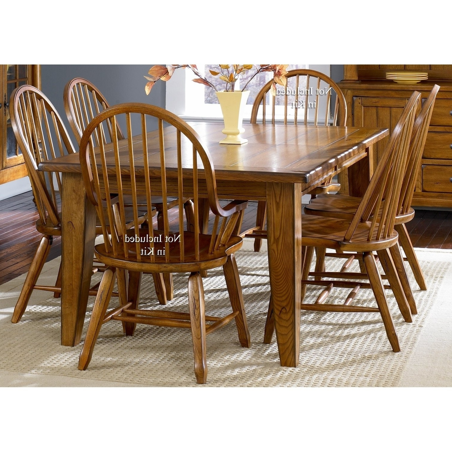 Craftsman 7 Piece Rectangle Extension Dining Sets With Arm & Side Chairs Intended For Current Shop Treasures Rustic Oak 5 Piece Bow Back 44X108 Rectangular (View 9 of 25)