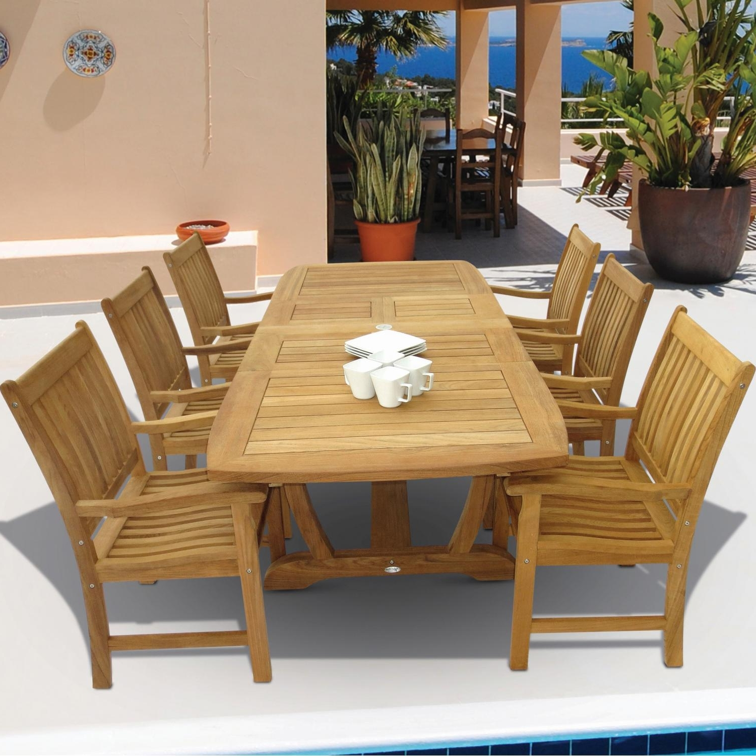Craftsman 7 Piece Rectangle Extension Dining Sets With Arm & Side Chairs Pertaining To Current Compass 7 Piece Teak Patio Dining Set W/ 64 X 43 Inch Rectangular (View 7 of 25)