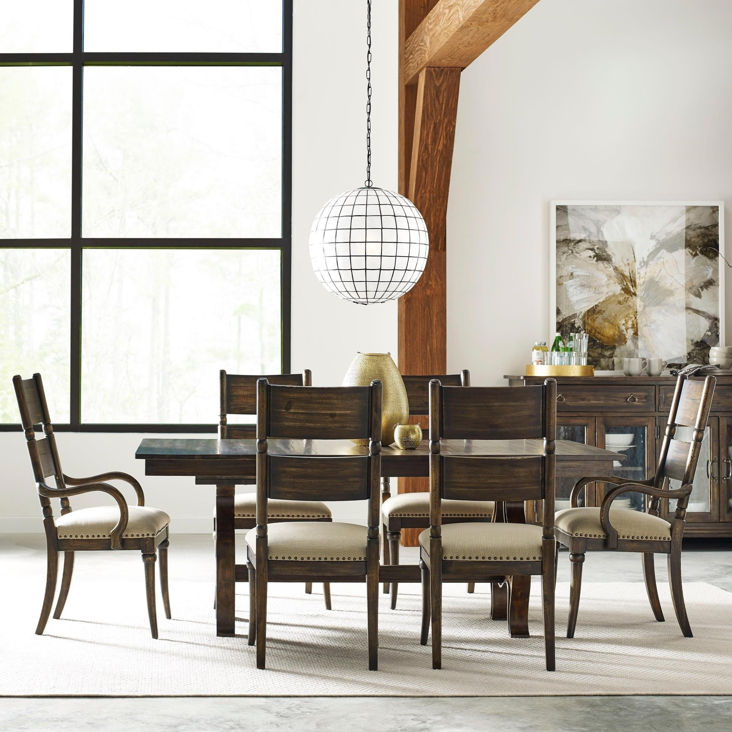 Craftsman 7 Piece Rectangle Extension Dining Sets With Arm & Side Chairs Regarding Fashionable Kincaid Furniture Wildfire Seven Piece Dining Set With Extendable (View 8 of 25)