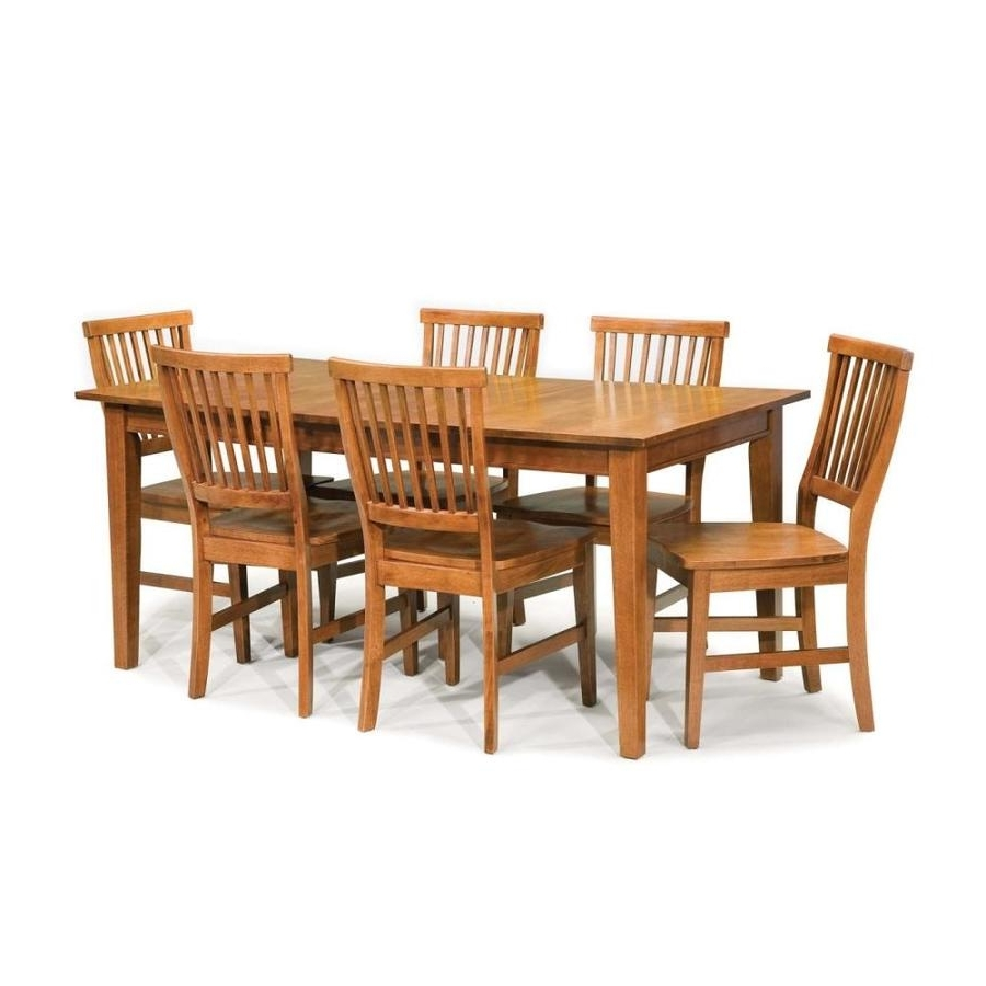 Craftsman 7 Piece Rectangle Extension Dining Sets With Side Chairs Inside Most Recently Released Shop Home Styles Arts & Crafts Cottage Oak 7 Piece Dining Set With (View 21 of 25)