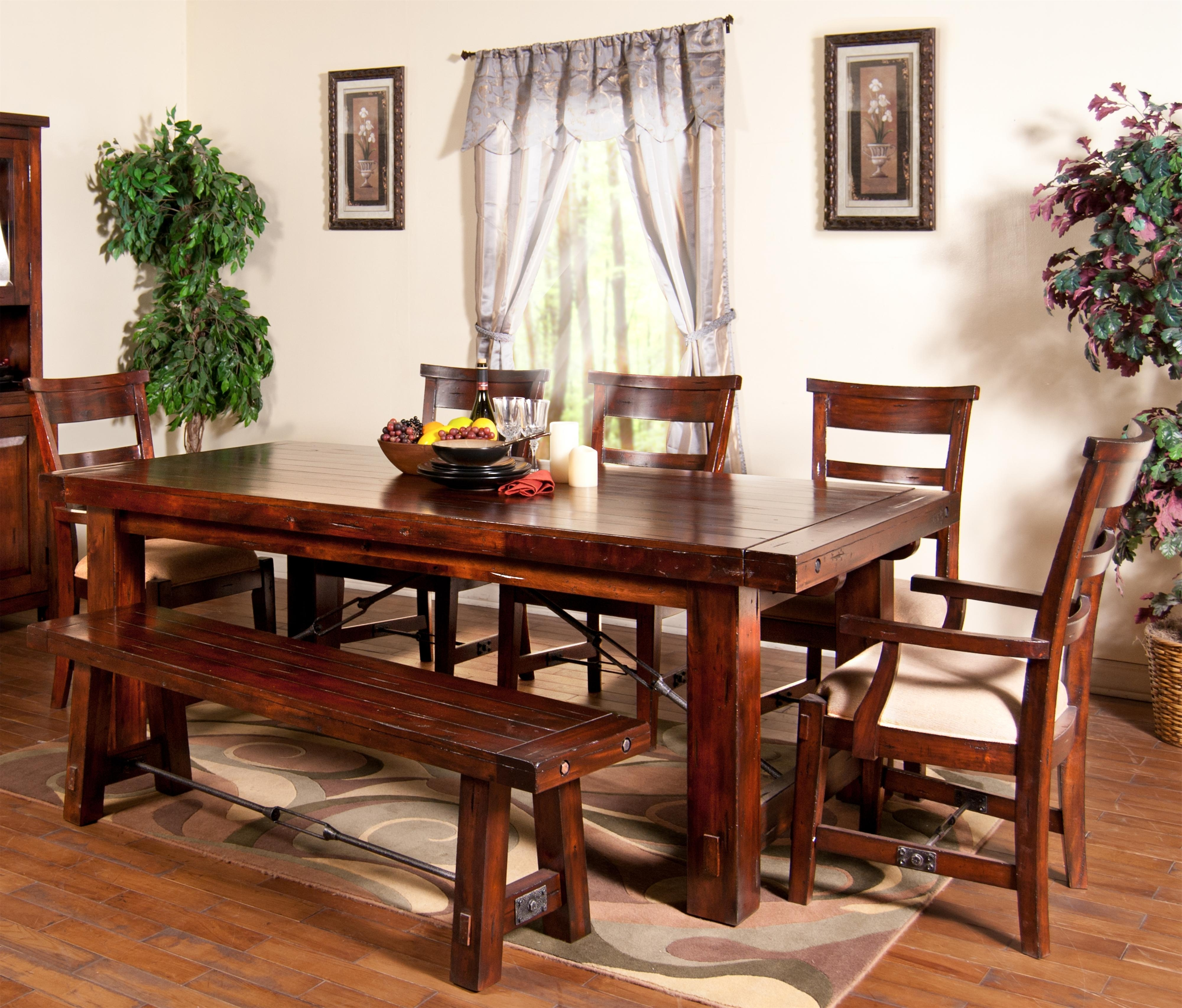 Craftsman 7 Piece Rectangle Extension Dining Sets With Side Chairs Within Well Known 7 Piece Extension Table With Chairs And Bench Setsunny Designs (View 6 of 25)