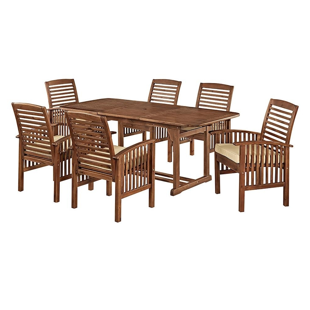 Craftsman 7 Piece Rectangle Extension Dining Sets With Uph Side Chairs For Newest Walker Edison Furniture Company Boardwalk 7 Piece Dark Brown Acacia (View 19 of 25)
