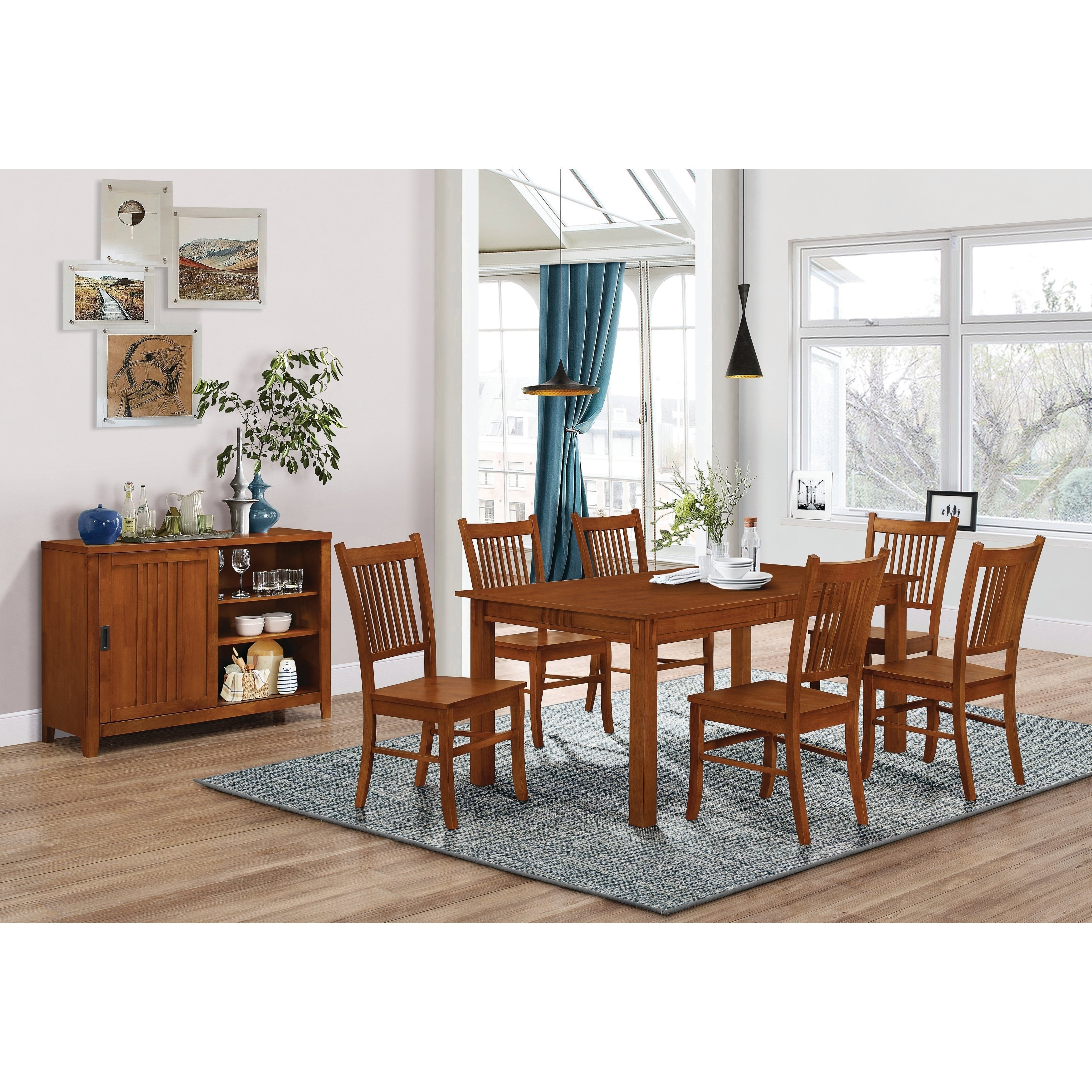 Craftsman 7 Piece Rectangular Extension Dining Sets With Arm & Uph Side Chairs Regarding Fashionable Shop Marbrisa Mission Oak 7 Piece Dining Set – Free Shipping Today (View 9 of 25)