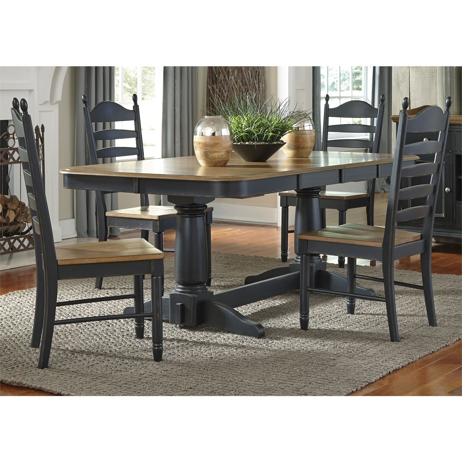 Craftsman 7 Piece Rectangular Extension Dining Sets With Arm & Uph Side Chairs Throughout Most Current Liberty Springfield Ii Honey And Black Double Pedestal 5 Piece (View 21 of 25)
