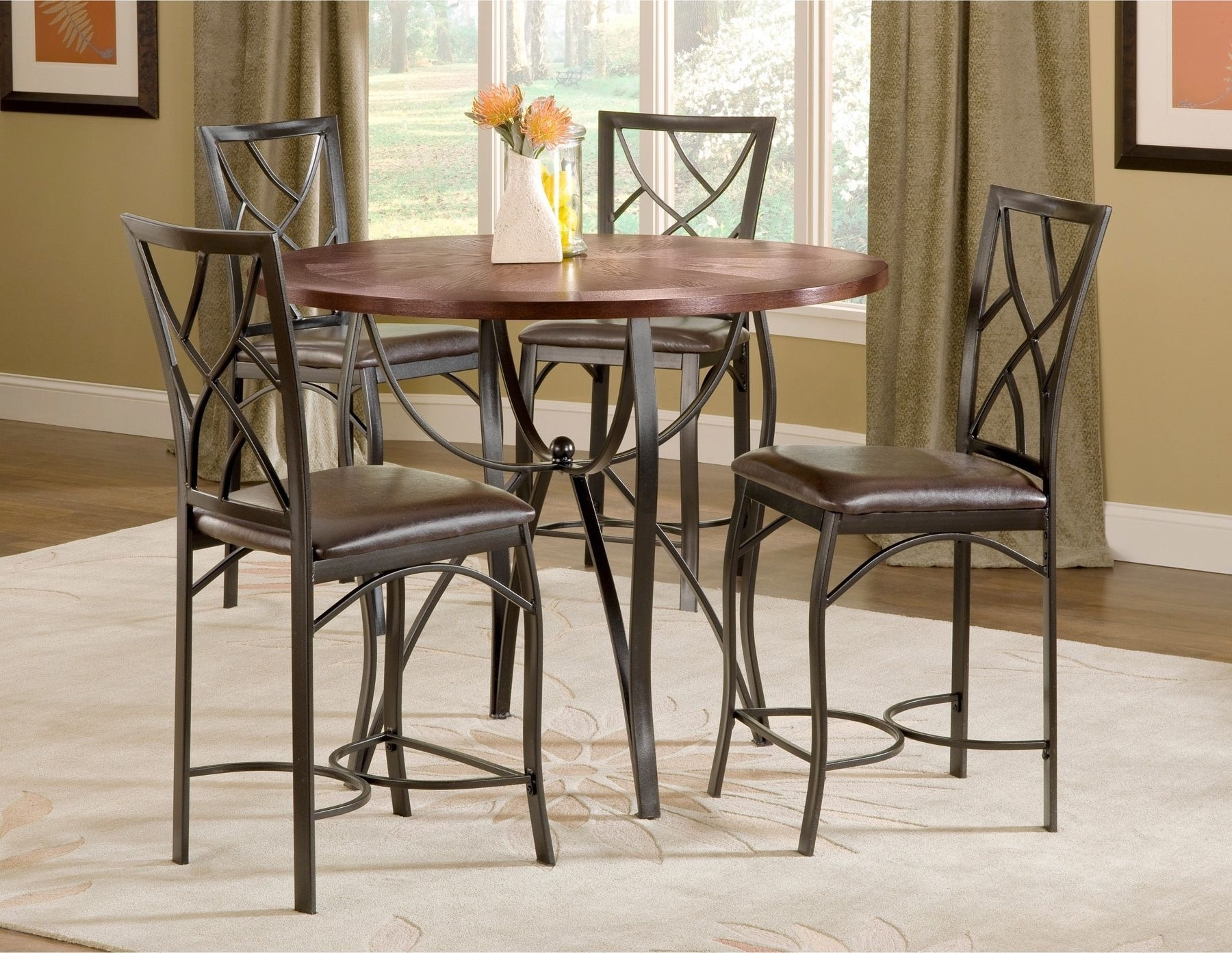 Craftsman 9 Piece Extension Dining Sets With Uph Side Chairs For Most Up To Date Sanford Merlot 5 Piece Counter Height Table And 4 Chairs Black Metal (View 6 of 25)