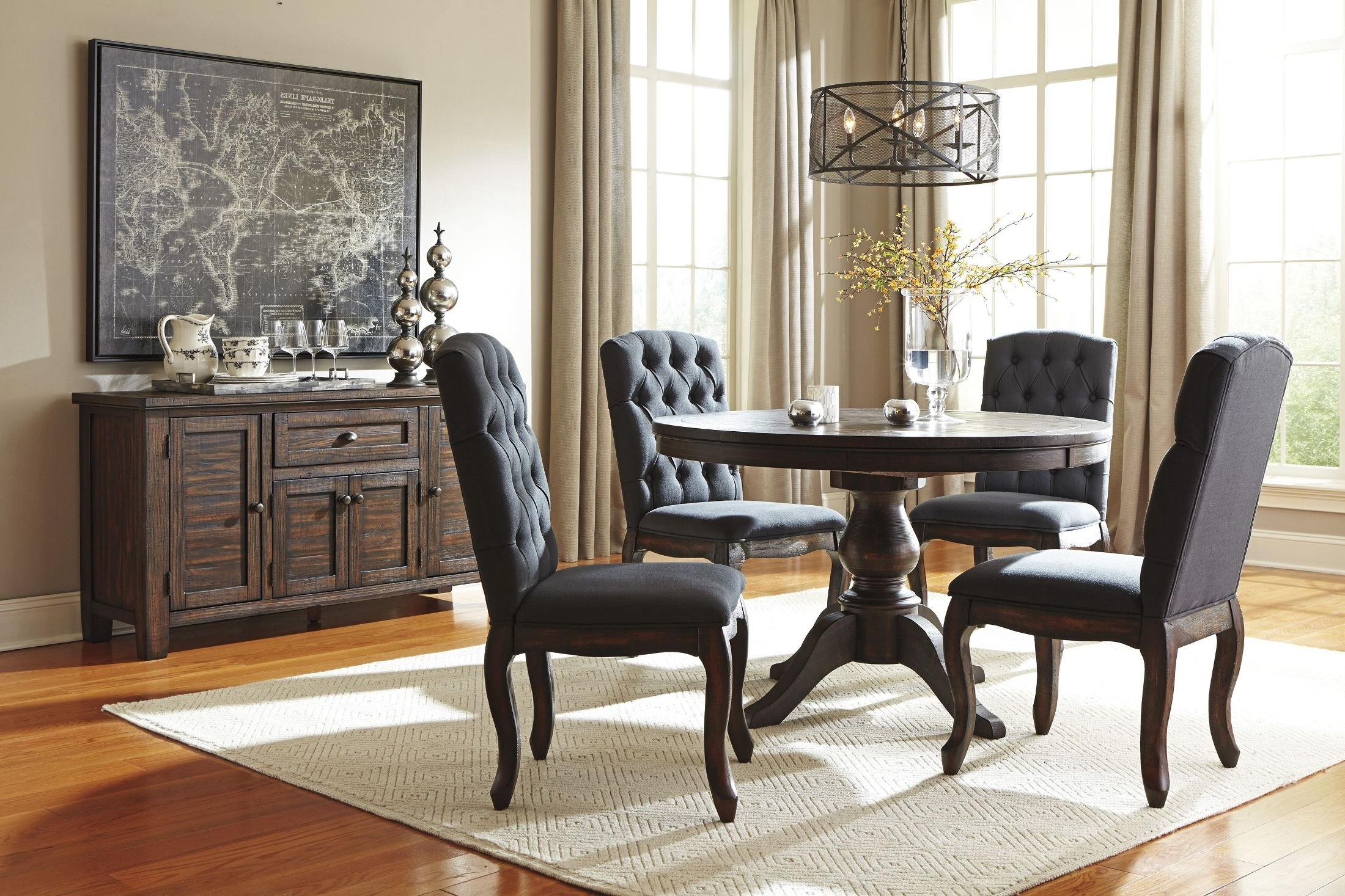 Craftsman 9 Piece Extension Dining Sets With Uph Side Chairs Inside Latest Signature Designashley Trudell Dark Brown Round Extendable (View 10 of 25)