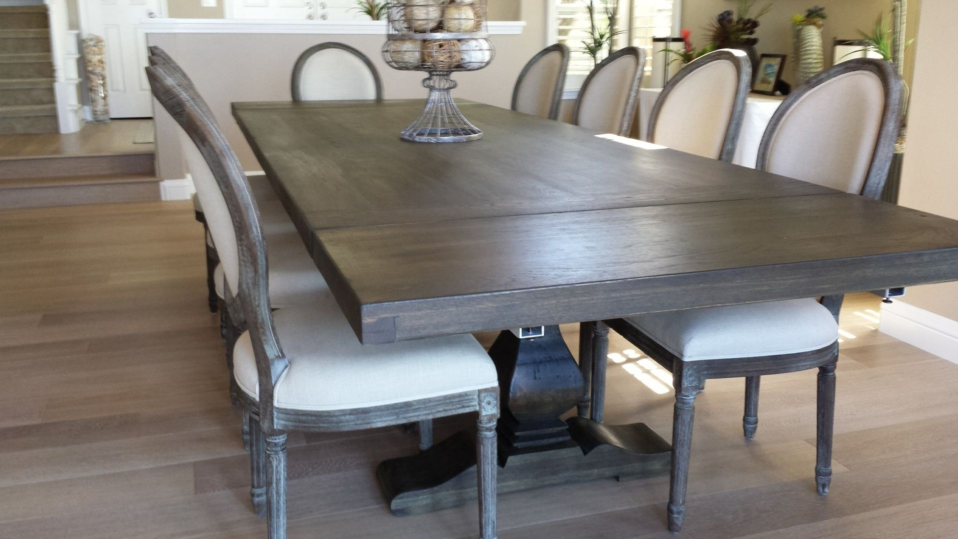 Craftsman Rectangle Extension Dining Tables With Regard To Newest Hand Made Pecan Trestle Dining Tablesantini Custom Furniture (View 6 of 25)