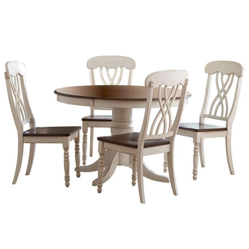Craftsman Round Dining Tables Intended For Most Recently Released Homesullivan 5 Piece Antique White And Cherry Dining Set 401393W (View 16 of 25)