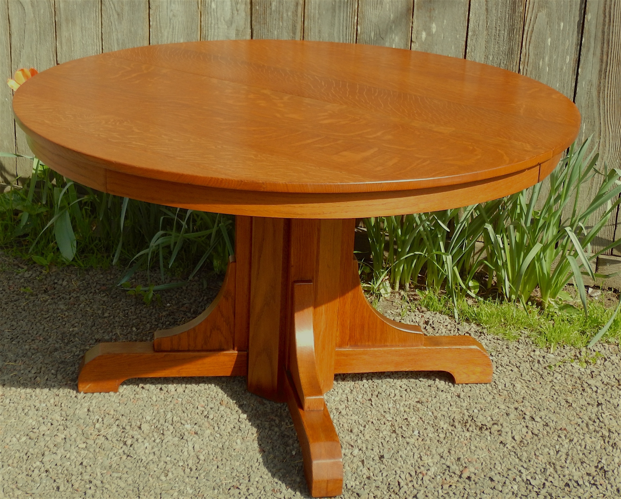 Craftsman Round Dining Tables Pertaining To Famous Voorhees Craftsman Mission Oak Furniture – Gustav Stickley Vintage (View 1 of 25)