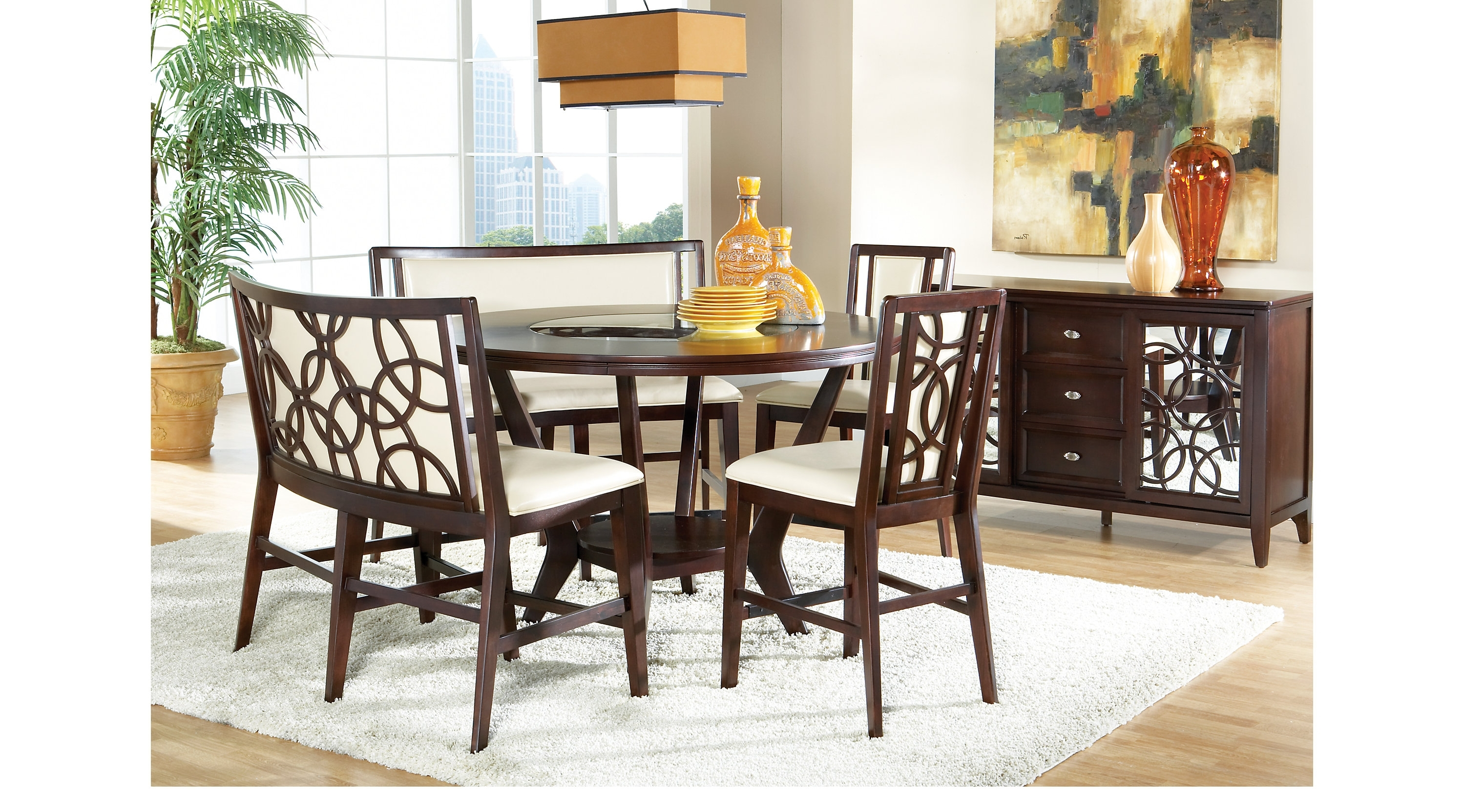 Crawford 6 Piece Rectangle Dining Sets In Preferred Dining: Cindy Crawford 5 Pc Espresso Dining Room Set With Round (View 7 of 25)