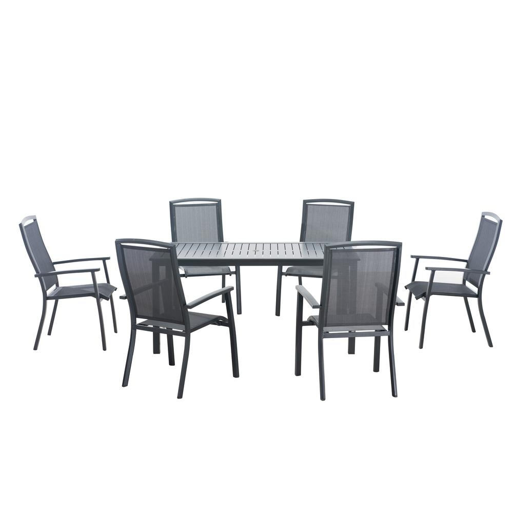 Crawford 7 Piece Rectangle Dining Sets Throughout Most Recent Sunjoy Sierra 7 Piece Patio Dining Set 110201024 – The Home Depot (View 7 of 25)