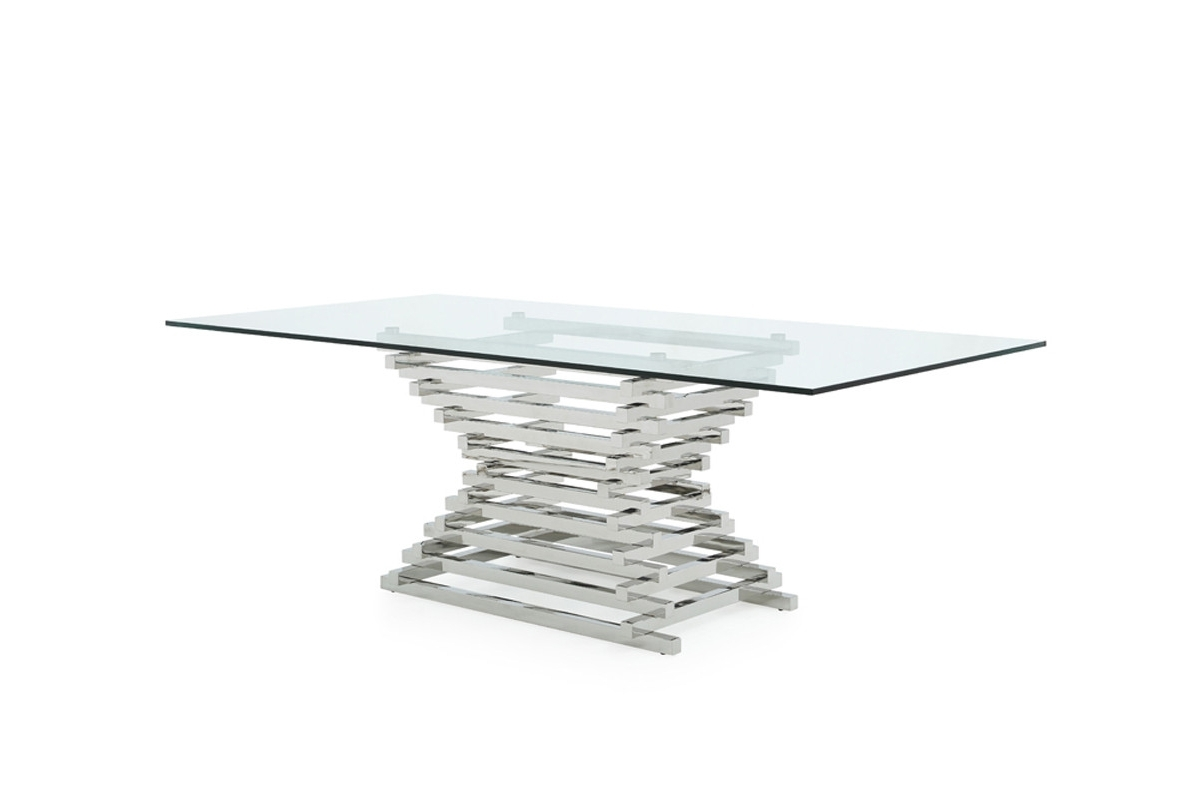 Crawford Rectangle Dining Tables Intended For Well Known Modrest Crawford Modern Rectangular Glass Dining Table (View 8 of 25)