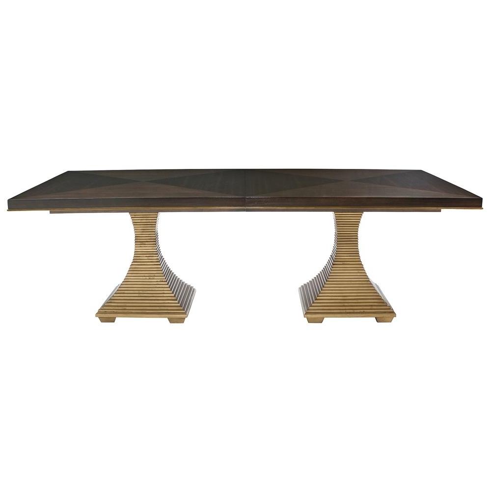 Crawford Regency Terrace Gold Pedestal Wood Dining Table (View 21 of 25)