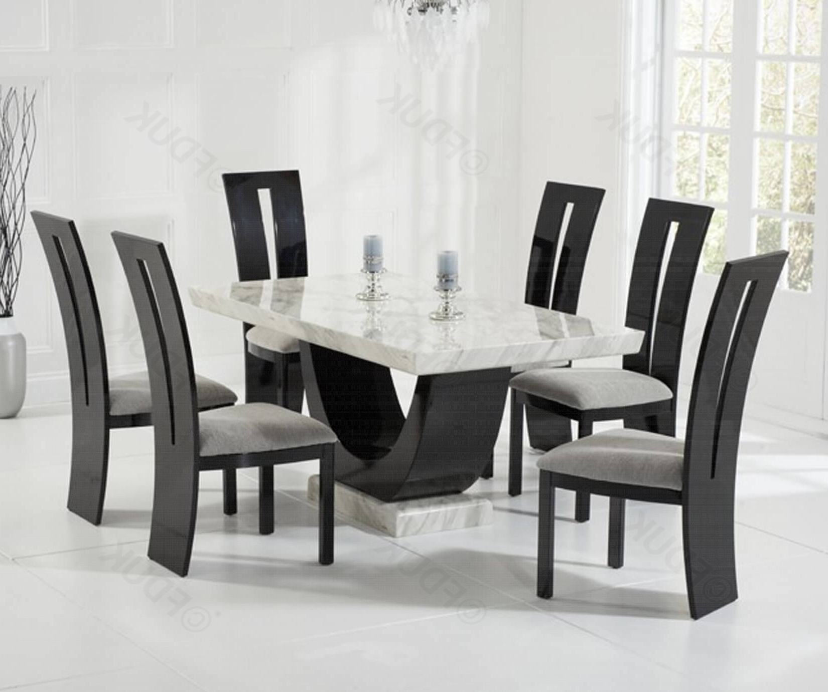 Cream And Black Constituted Marble Dining Set Within 2017 Marble Dining Chairs (View 5 of 25)