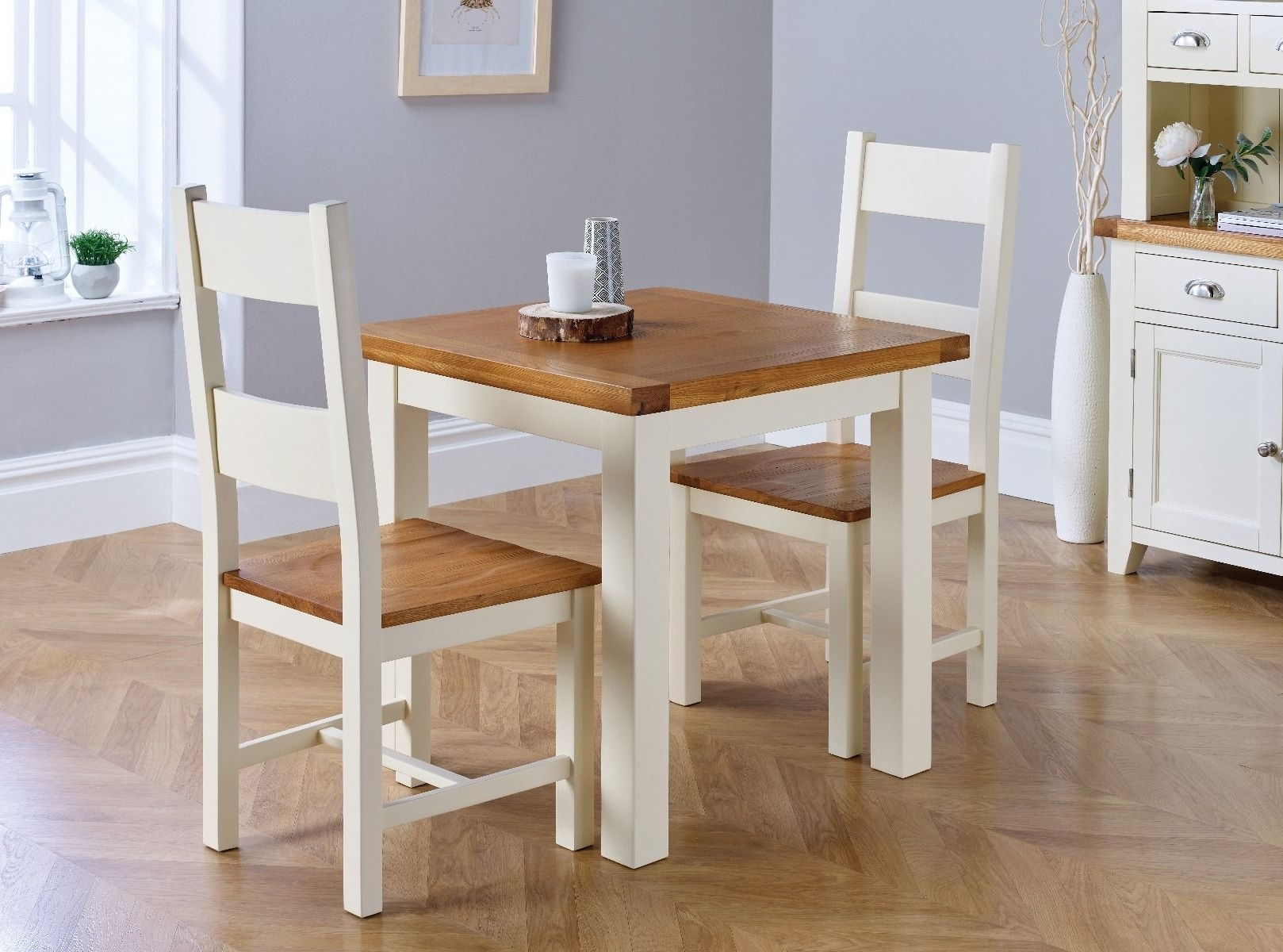 Cream And Oak Dining Tables Intended For Famous Small Cream Painted Square Oak Dining Table – Free Delivery (View 6 of 25)