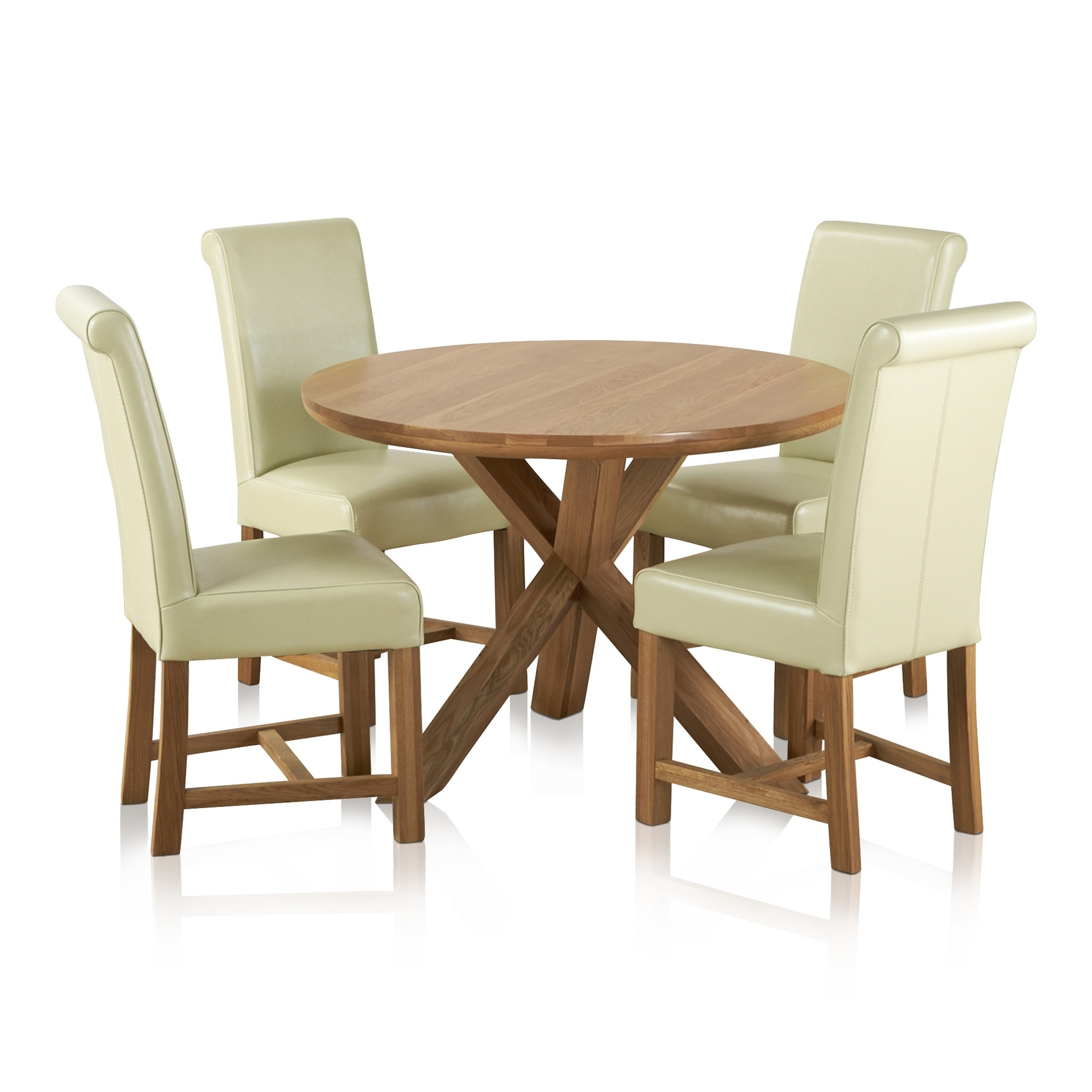 Cream And Oak Dining Tables Pertaining To Favorite Natural Oak Round Dining Set: Table + 4 Cream Leather Chairs (View 8 of 25)